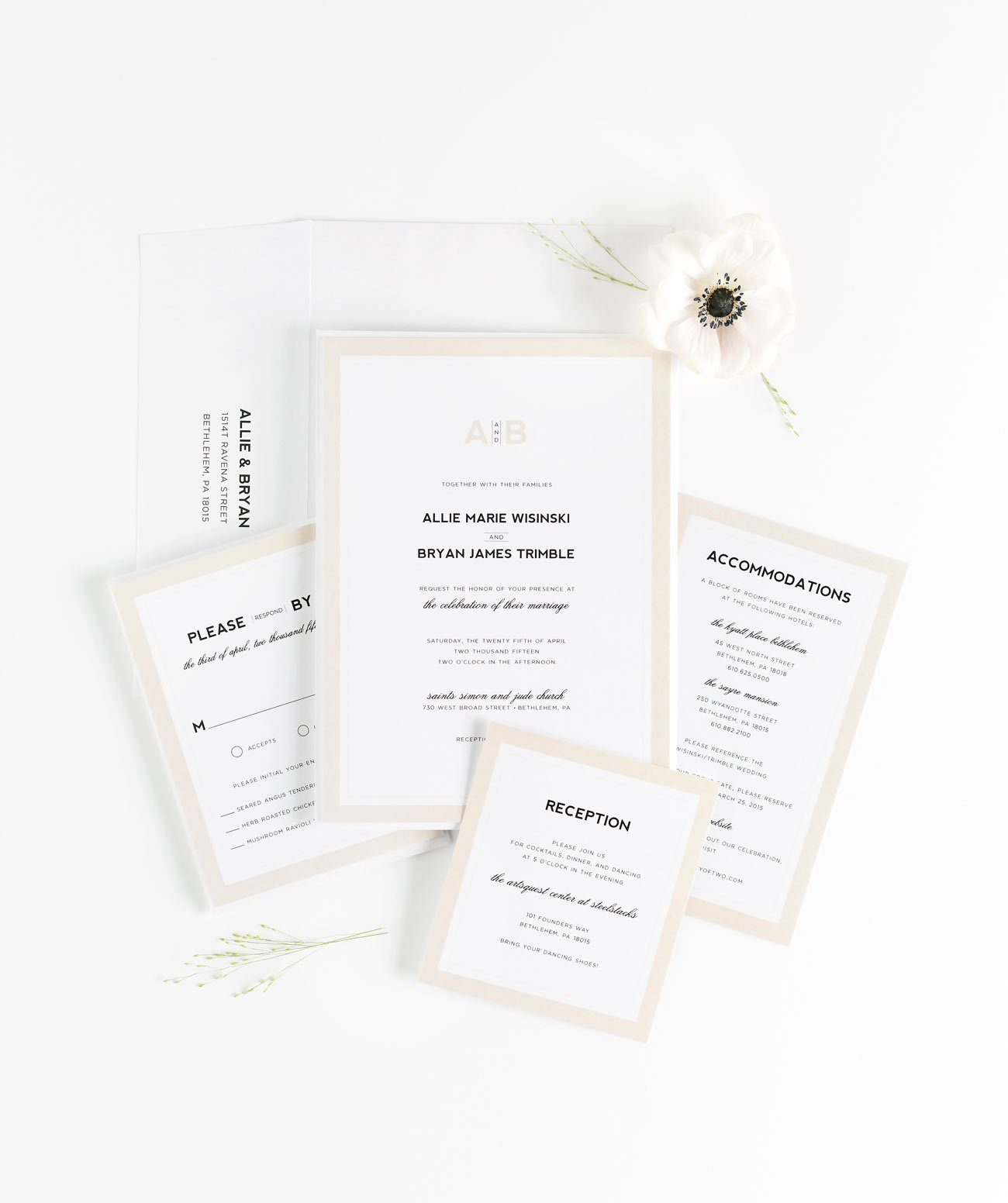 Modern Wedding Invitations in Champagne