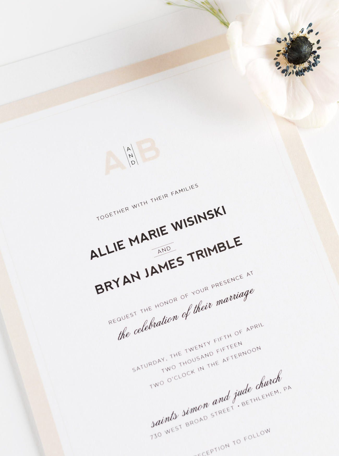 Neutral Wedding Invitations with Borders