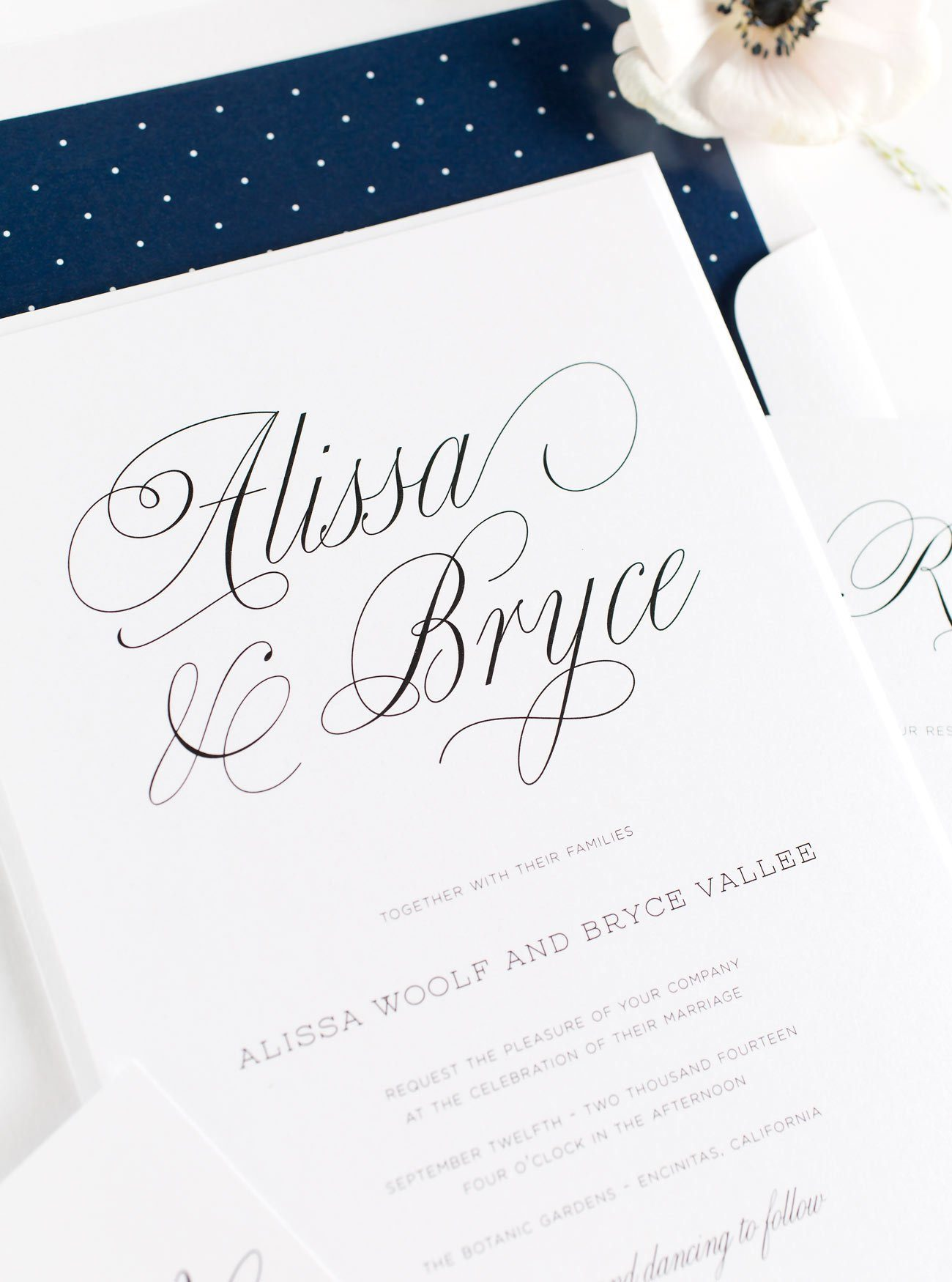 Romantic Wedding Invitations in Navy Blue