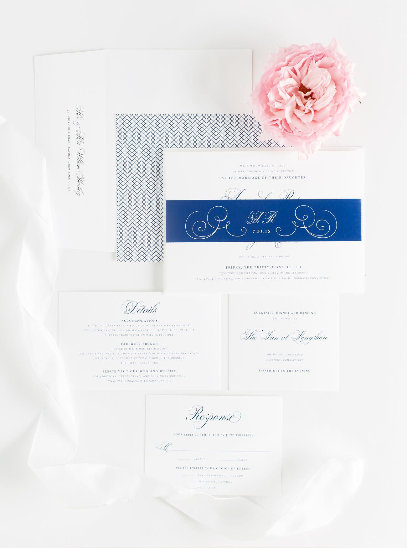 Romantic Wedding Invitations in Royal Blue