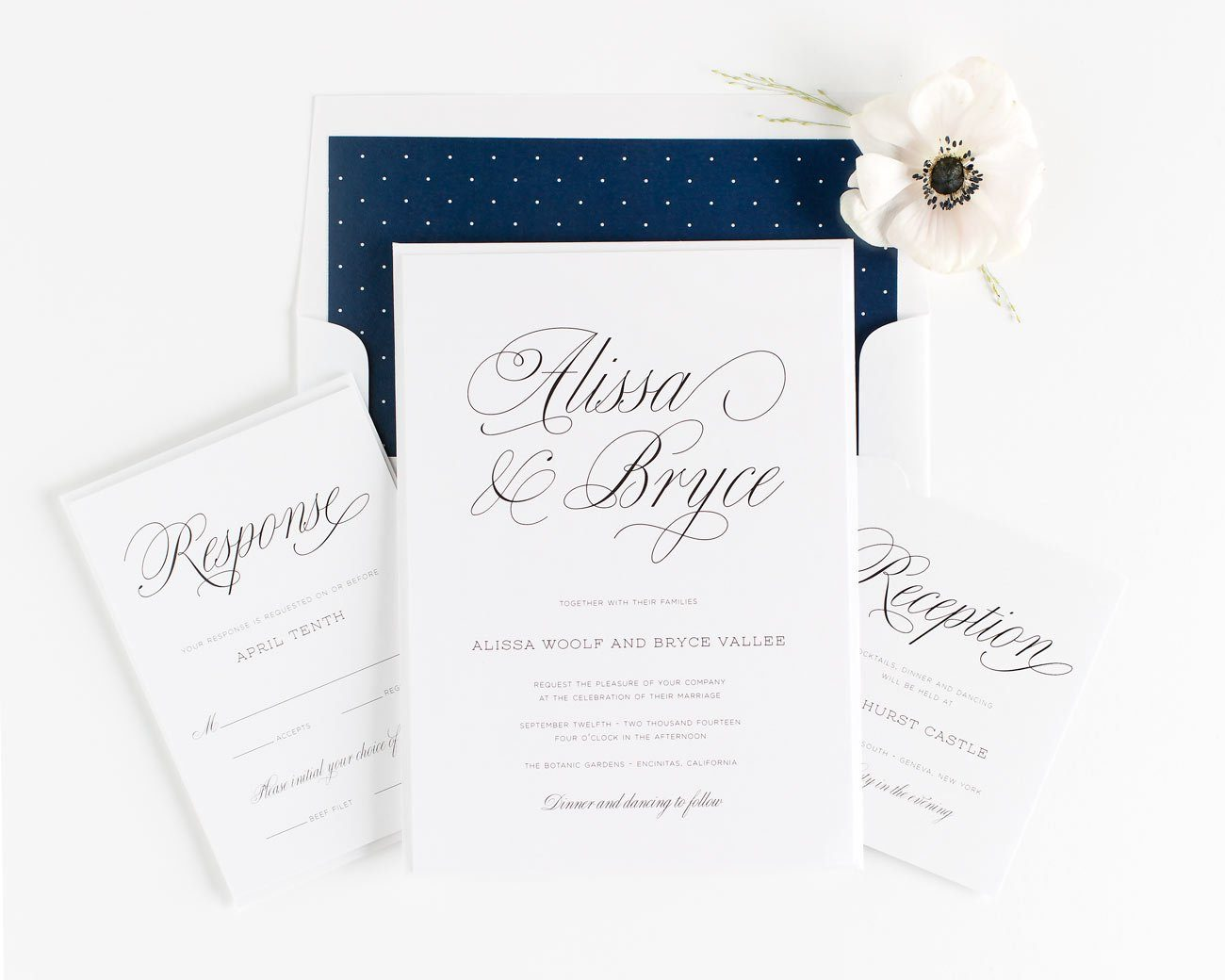 Script Wedding Invitations in Navy Blue