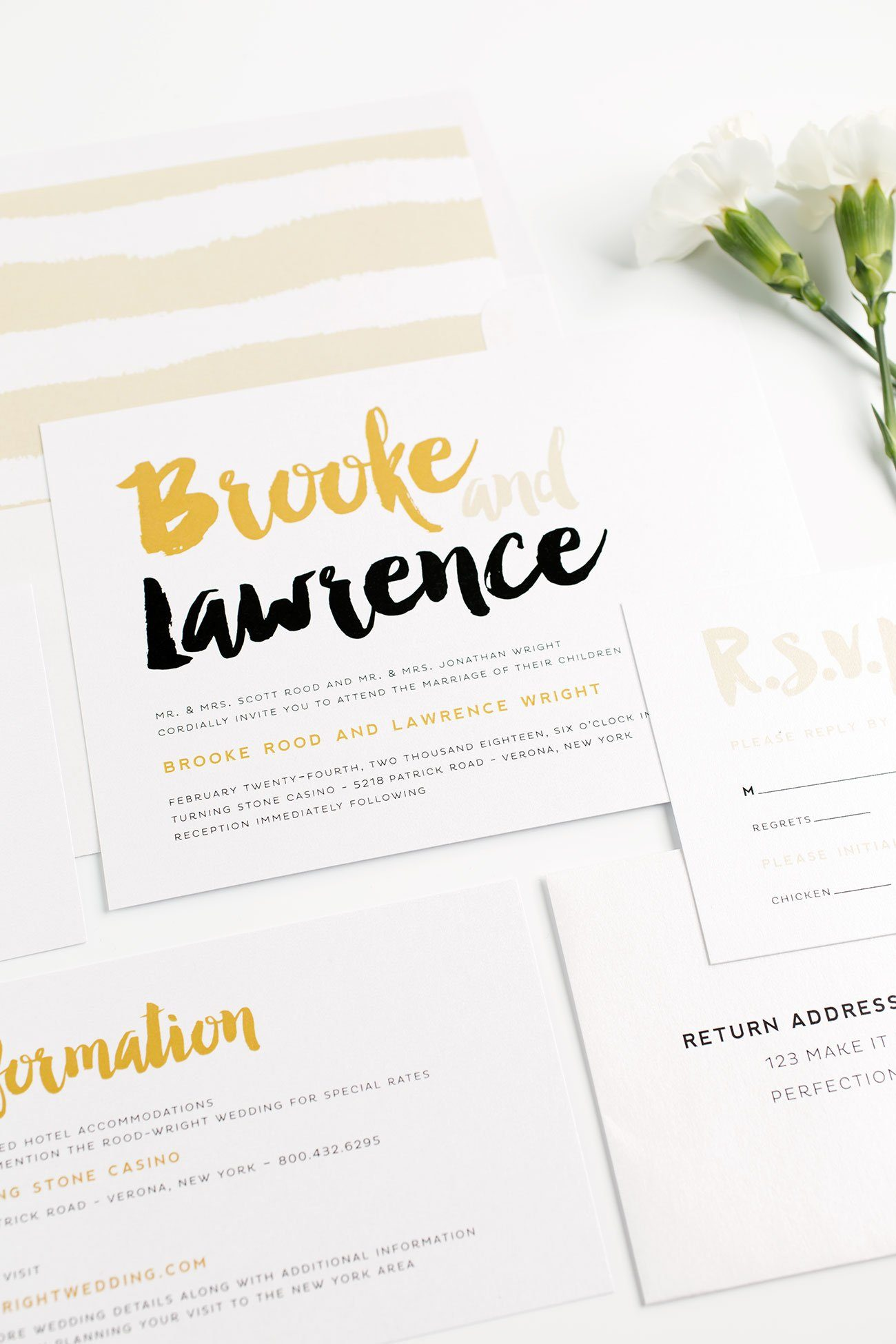 Black and Gold Wedding Invitations with a Striped Envelope Liner