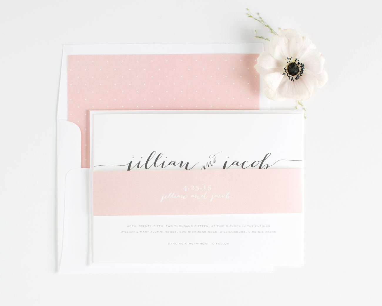 Blush Wedding Invitations with a belly band and polka dot envelope liner