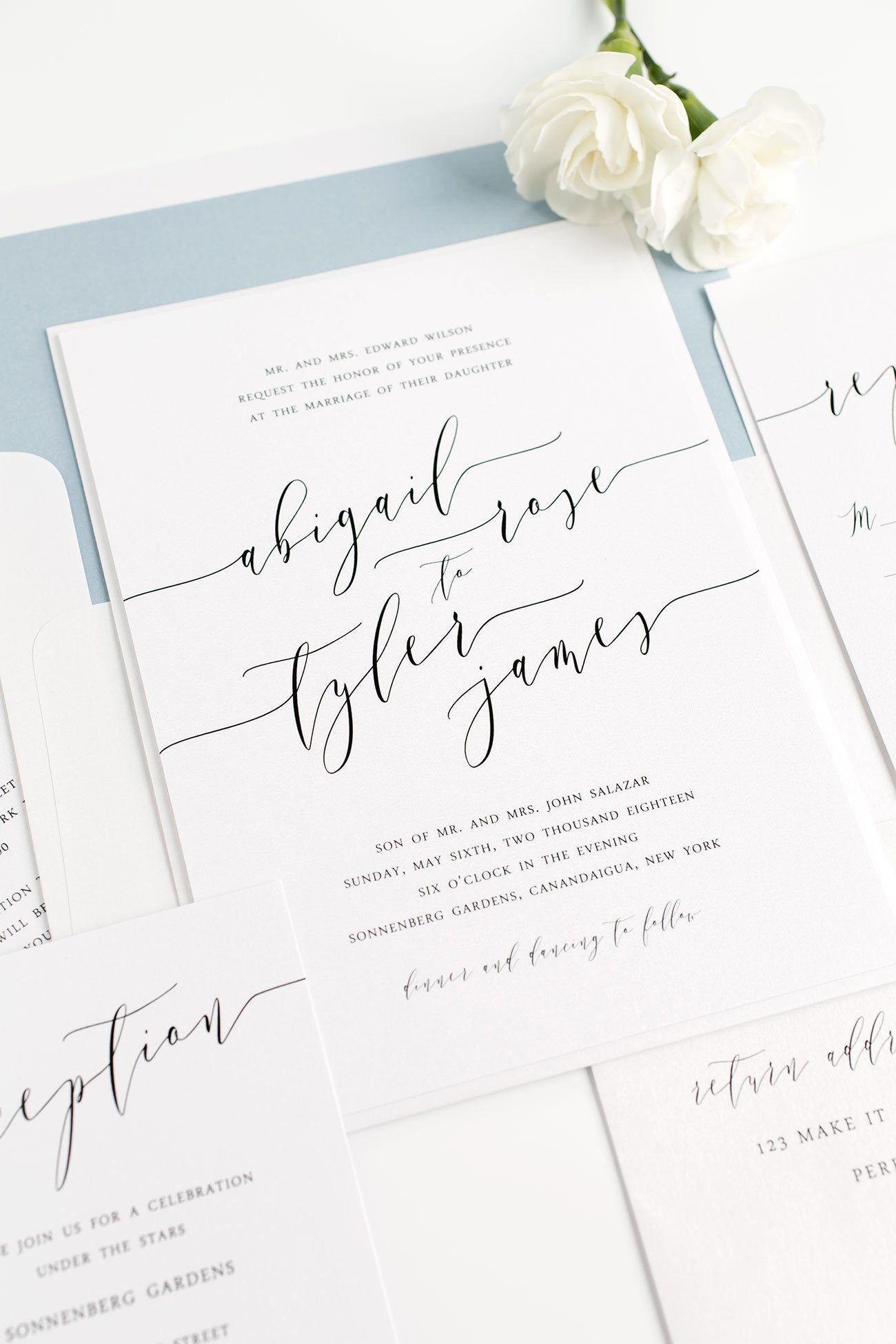 Romantic Calligraphy Wedding Invitations in Dusty Blue