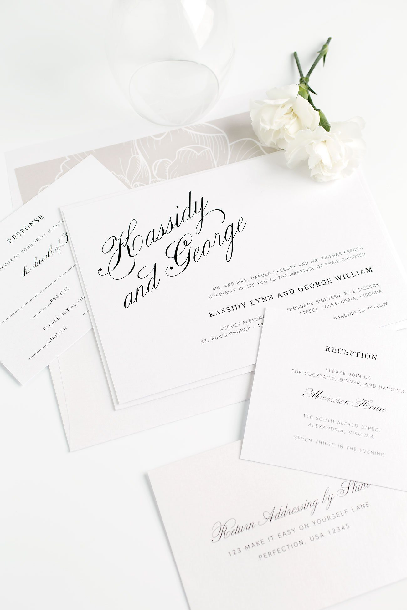 Elegant Wedding Invitations with a Floral Envelope Liner