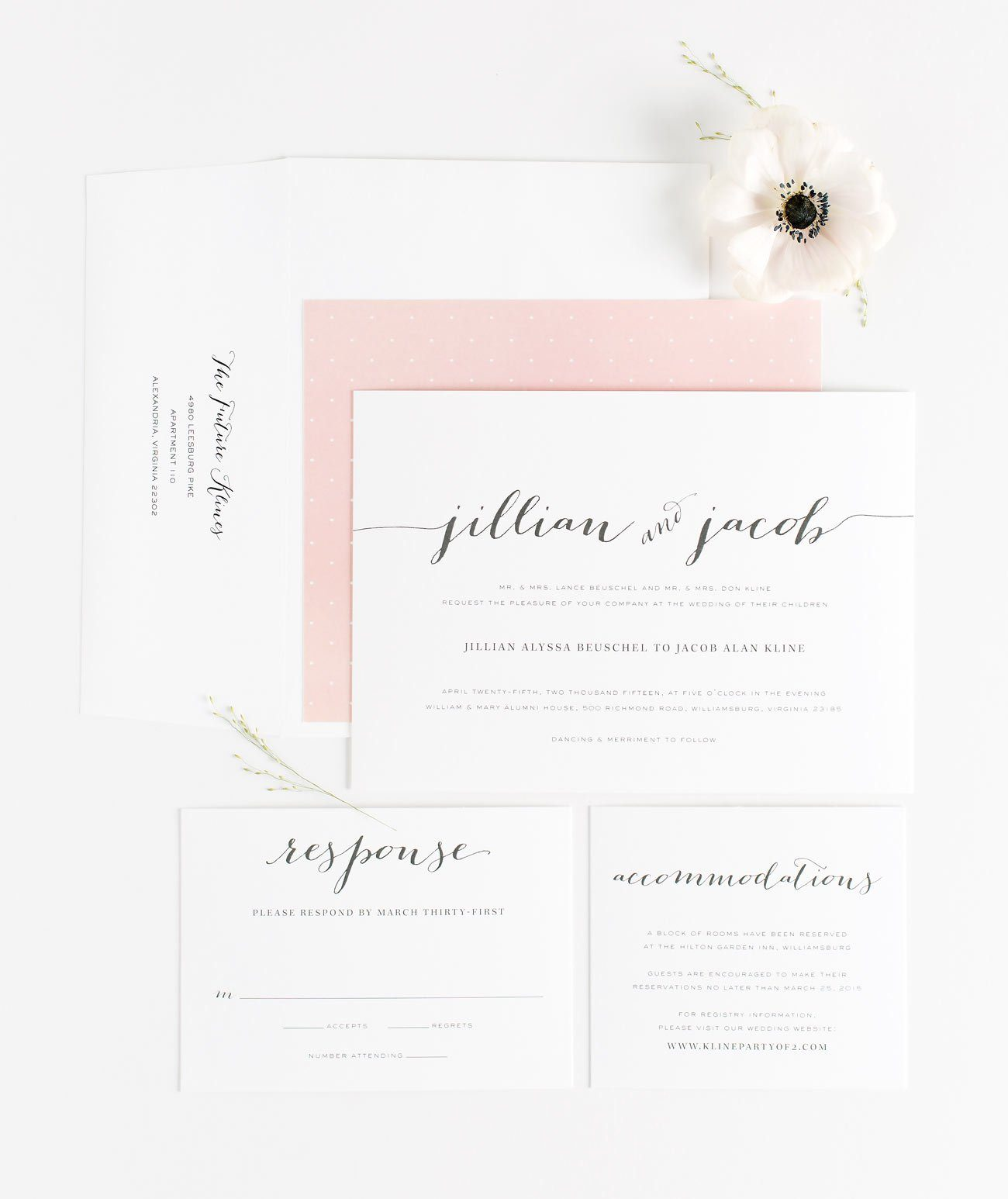 Flowing Script Wedding Invitations in Blush