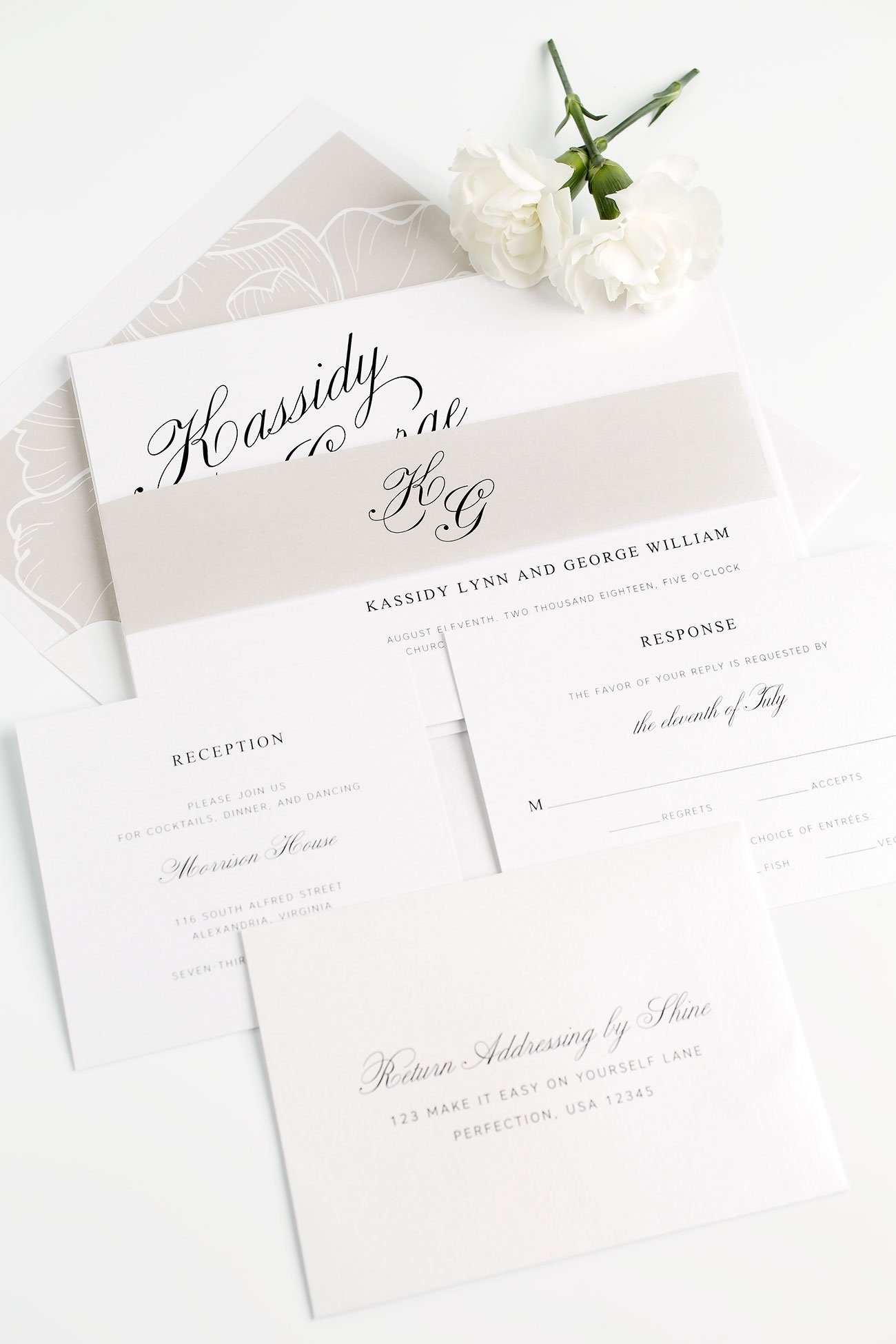 Calligraphy Wedding Invitations in Mocha