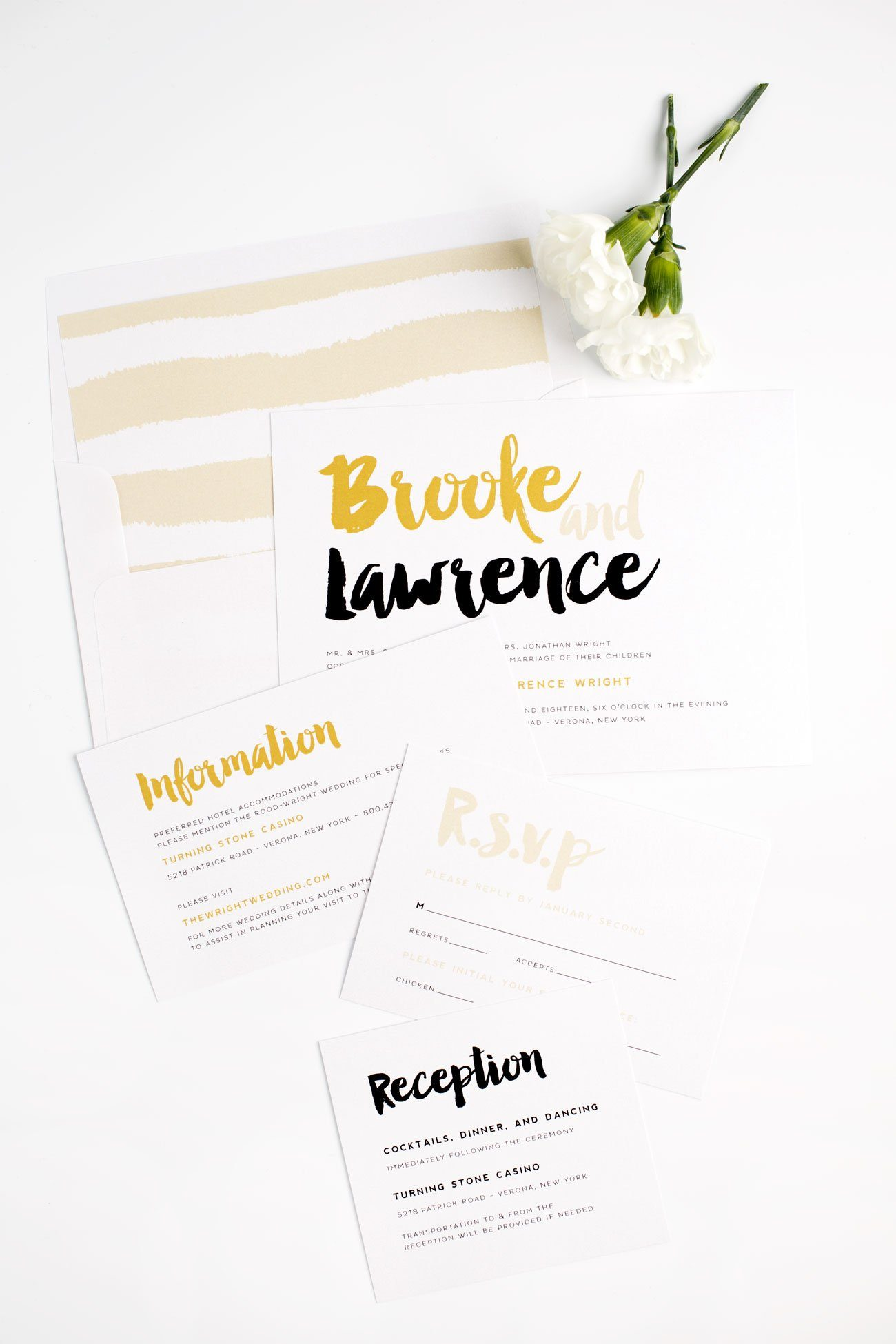 Modern Wedding Invitations with a fun Brush Stroke