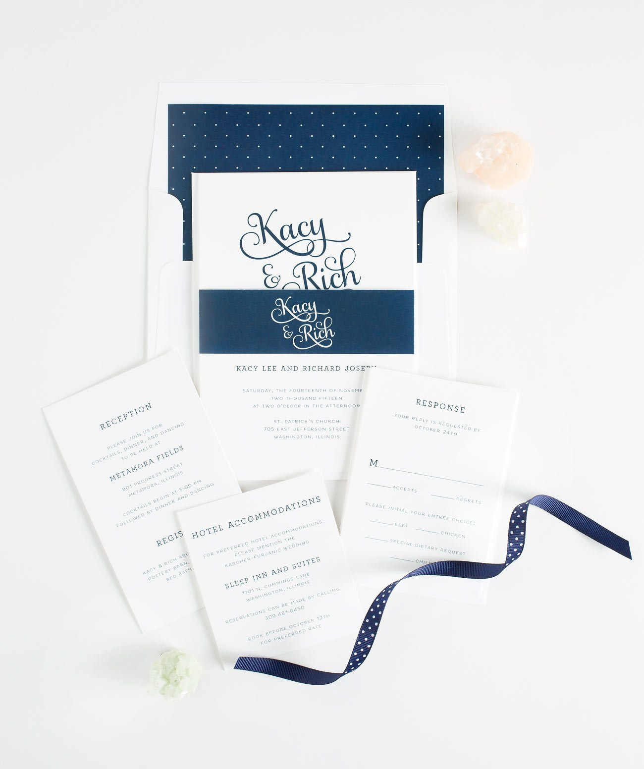 Romantic Wedding Invitations in Blue