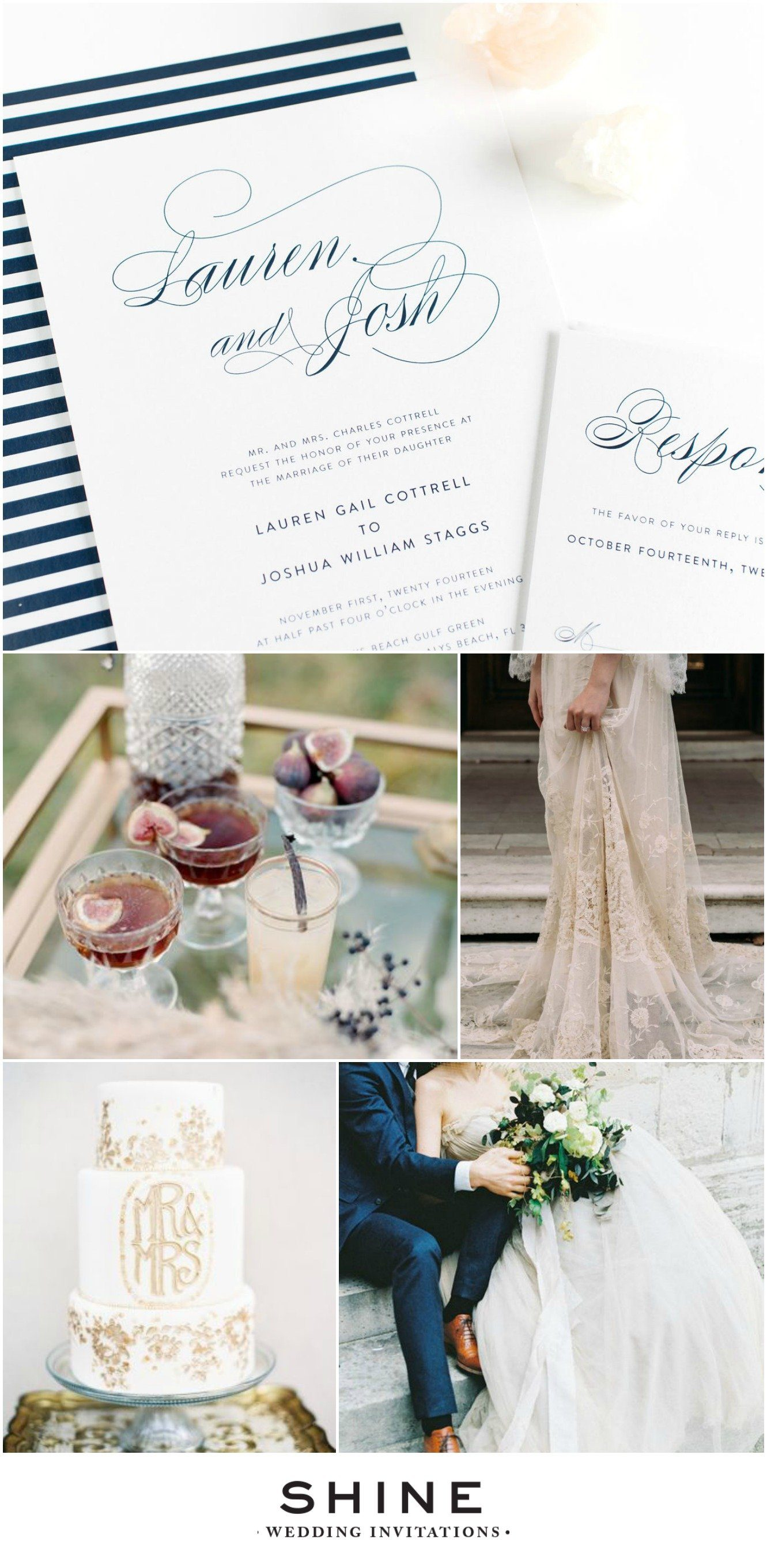 Elegant Navy Wedding Inspiration with Script Wedding Invitations