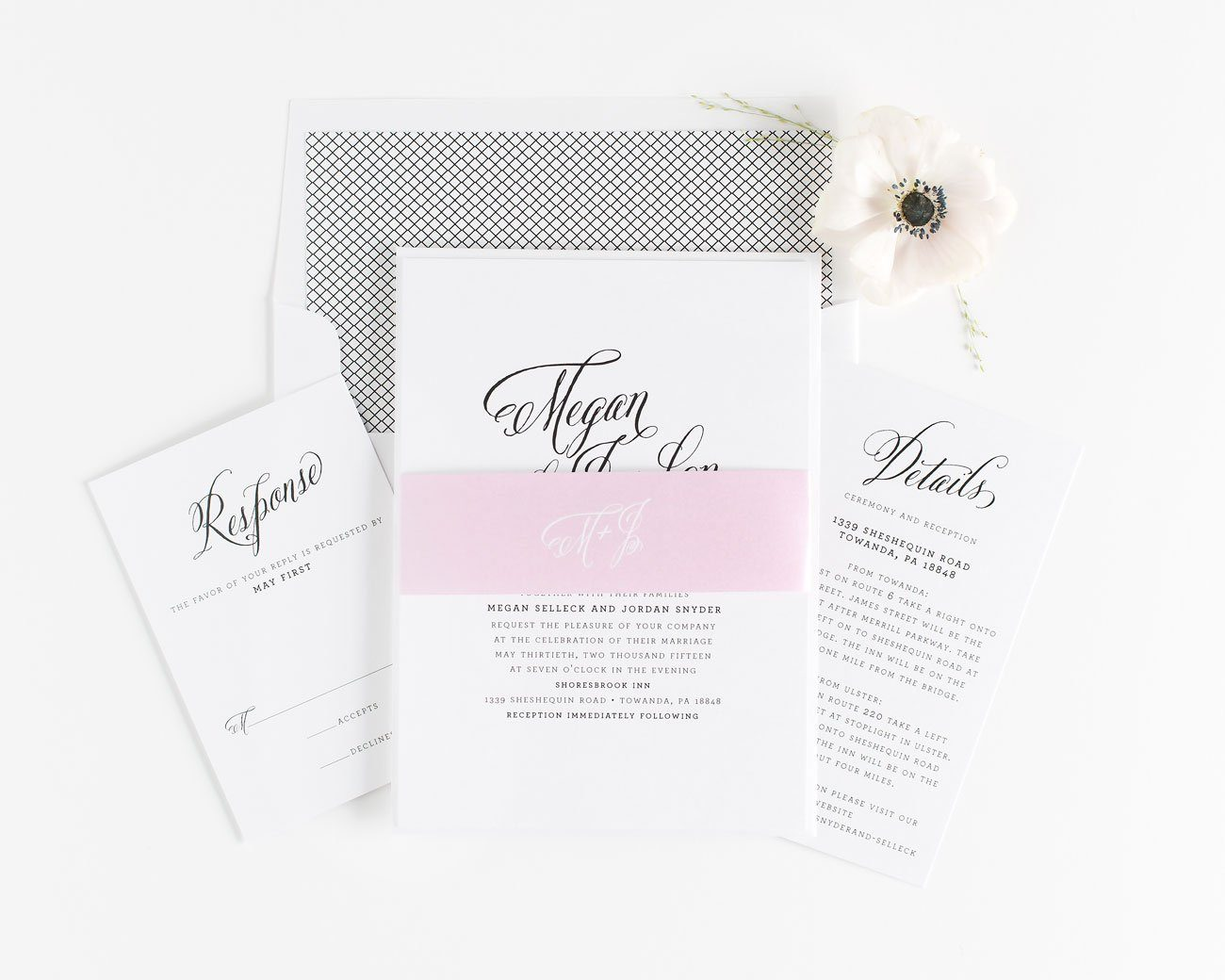 Calligraphy Wedding Invitations in Black and Pink