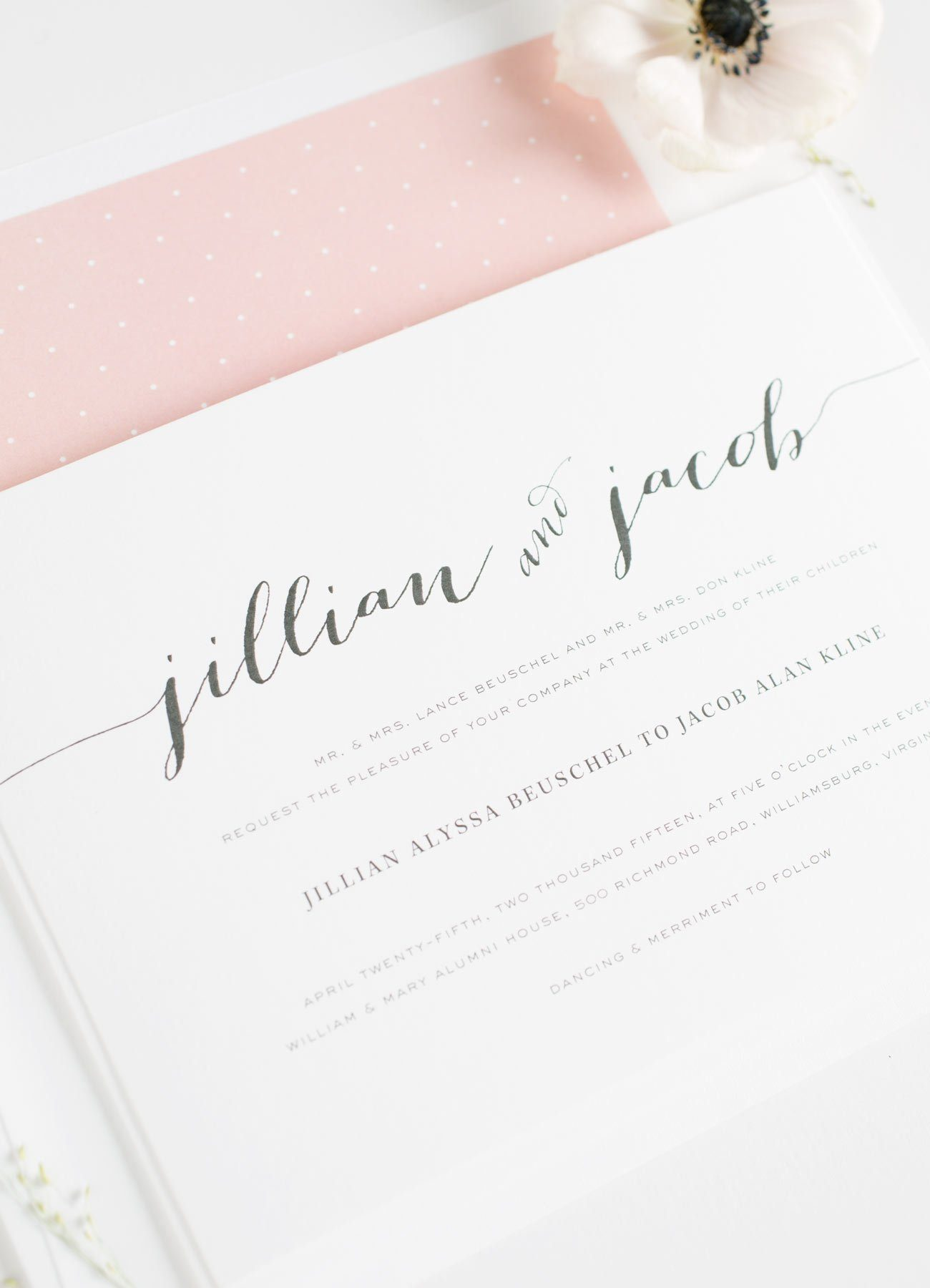 Romantic Wedding Invitations in Blush Pink