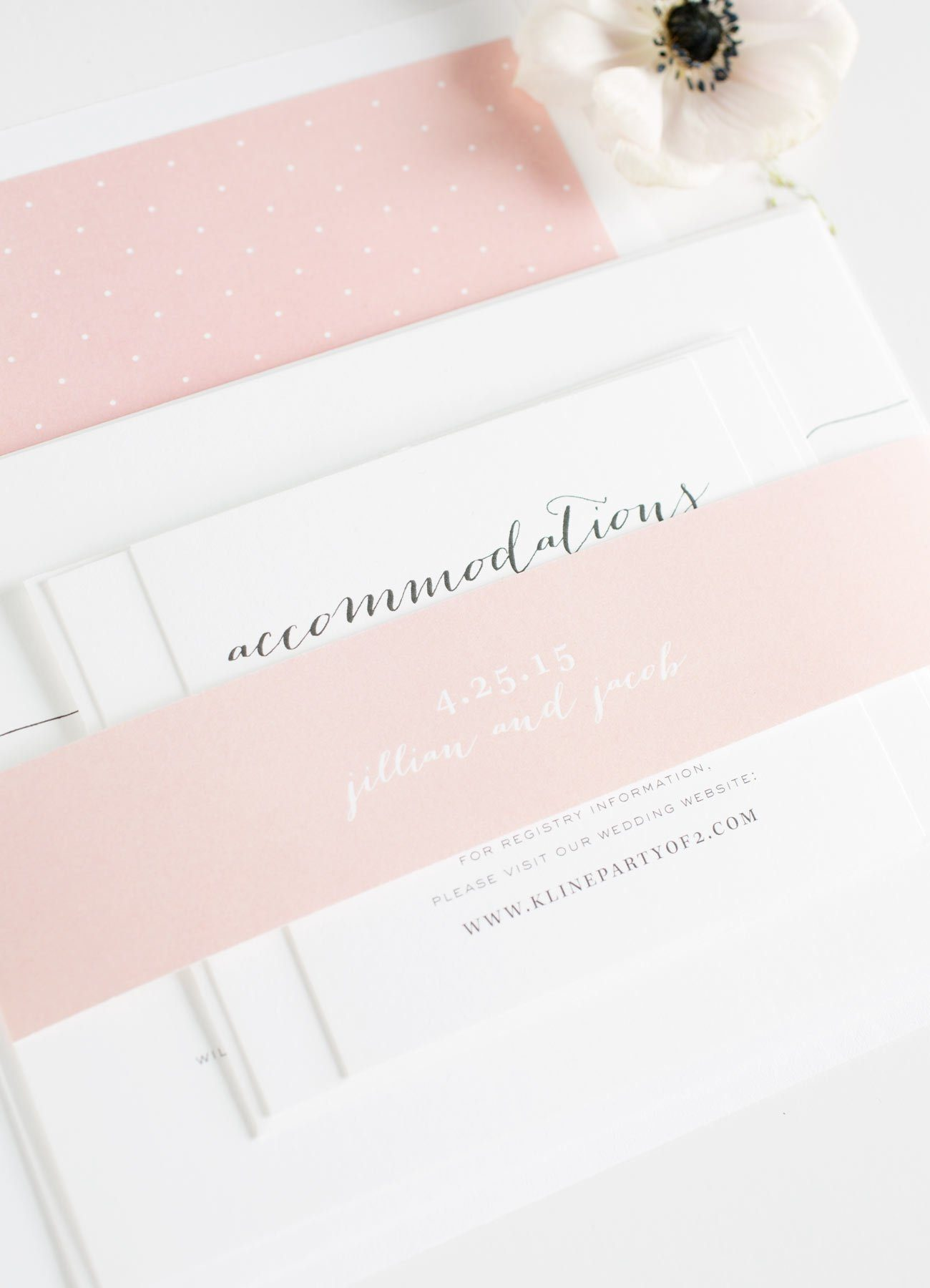 Romantic Wedding Invitations with a polk dot envelope liner and gorgeous calligraphy