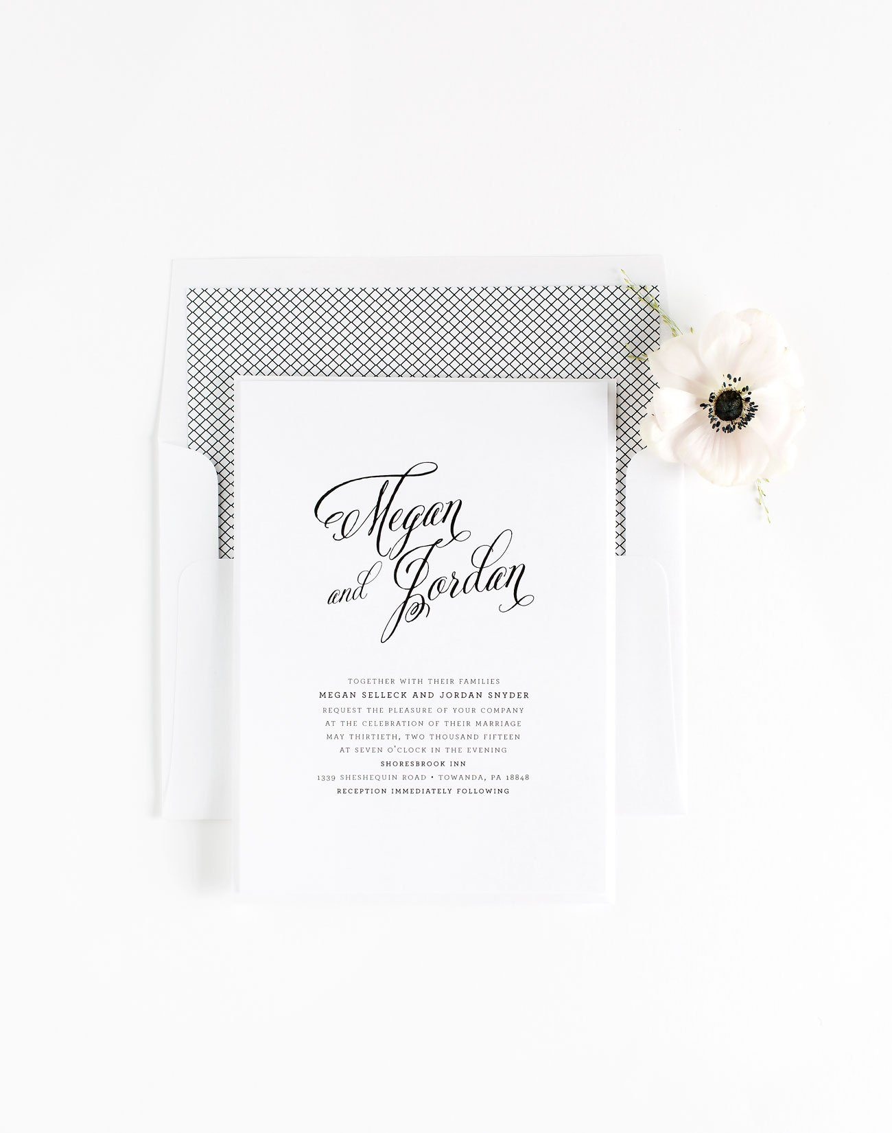 Rustic Wedding Invitations with Modern Calligraphy
