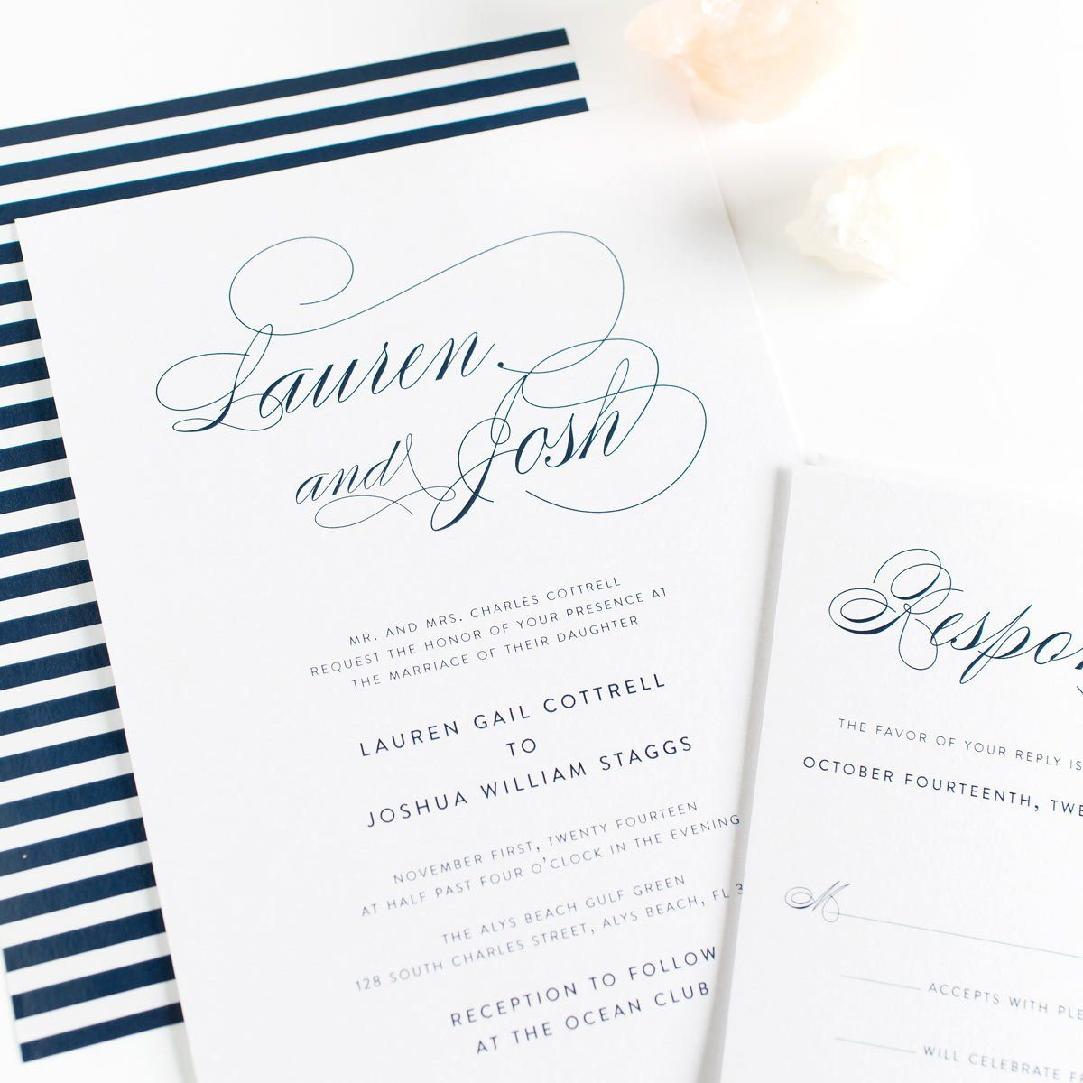 Script Elegance Wedding Invitation in Navy Nlue
