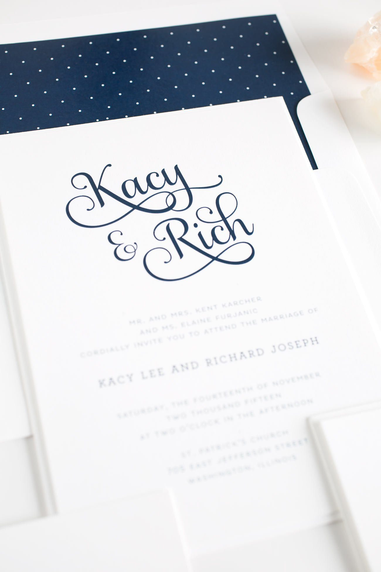 Navy Blue Script Wedding Invitations