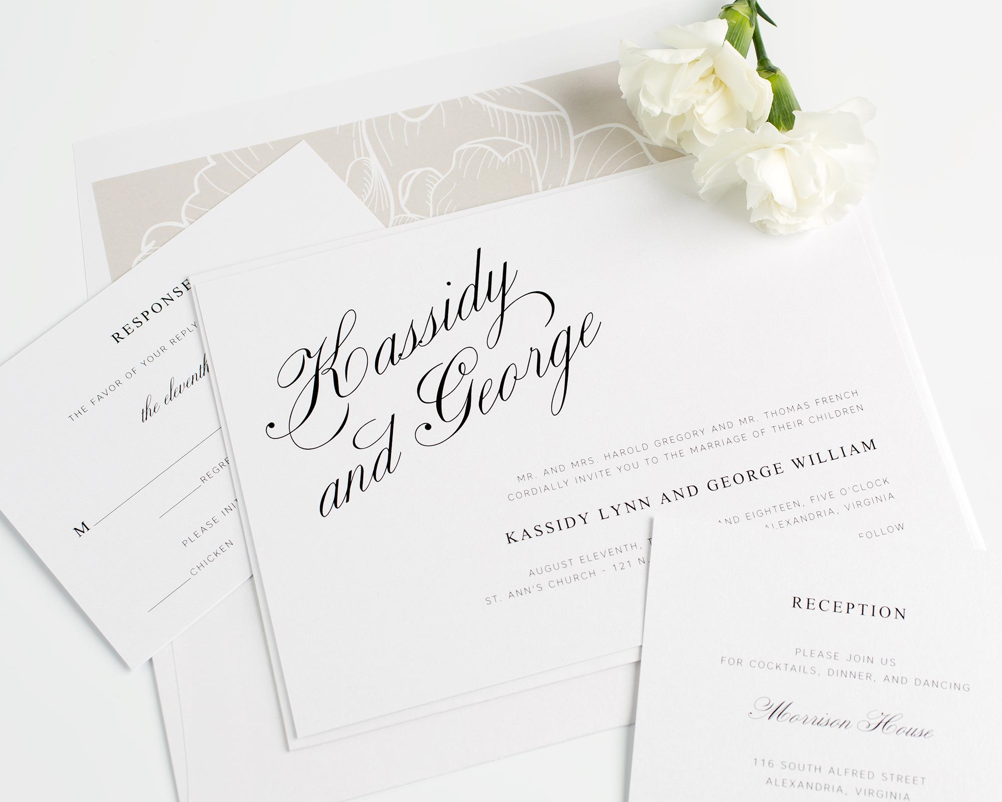 Elegant Wedding Invitations in Mocha