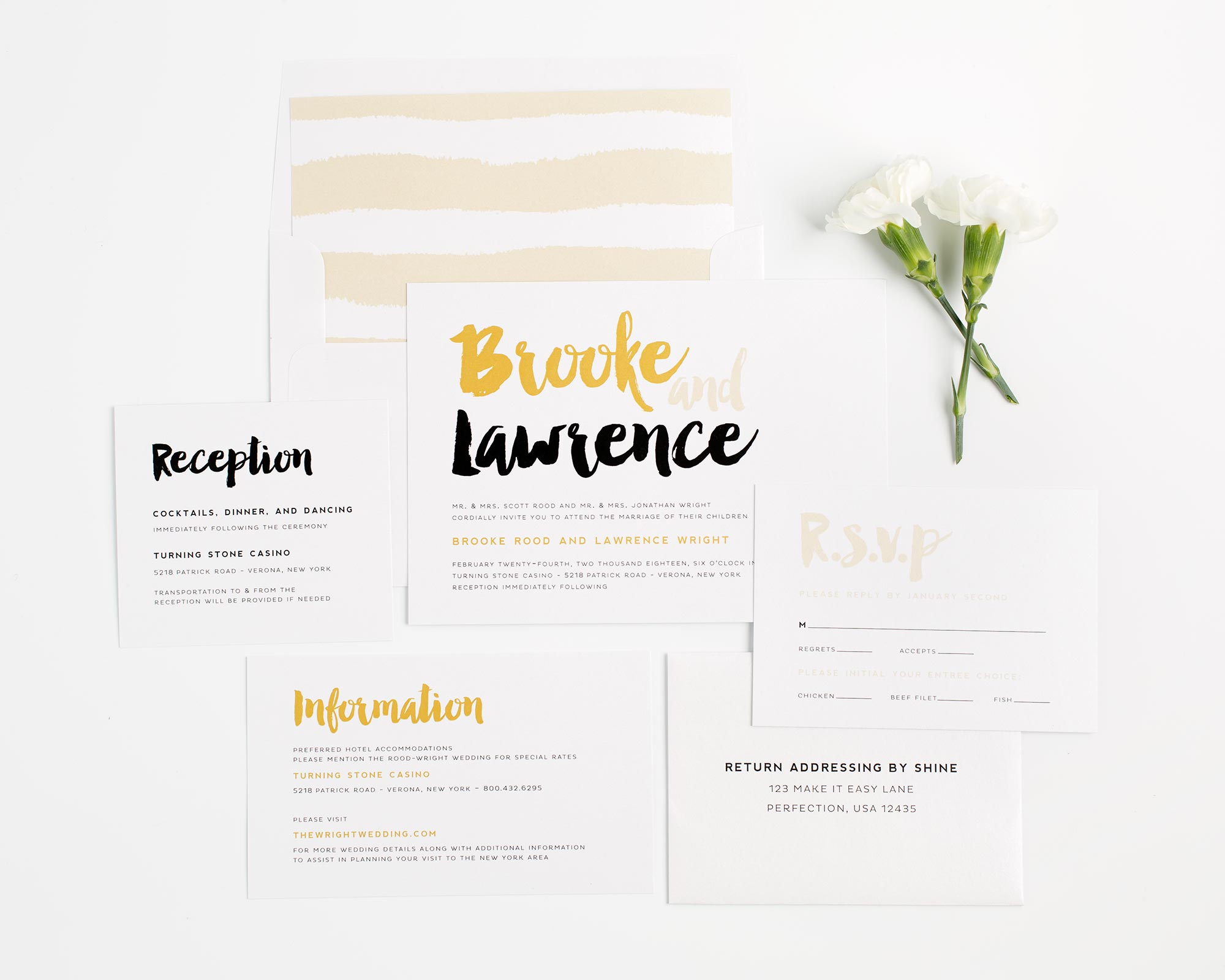Glamorous Wedding Invitations in Black and Gold