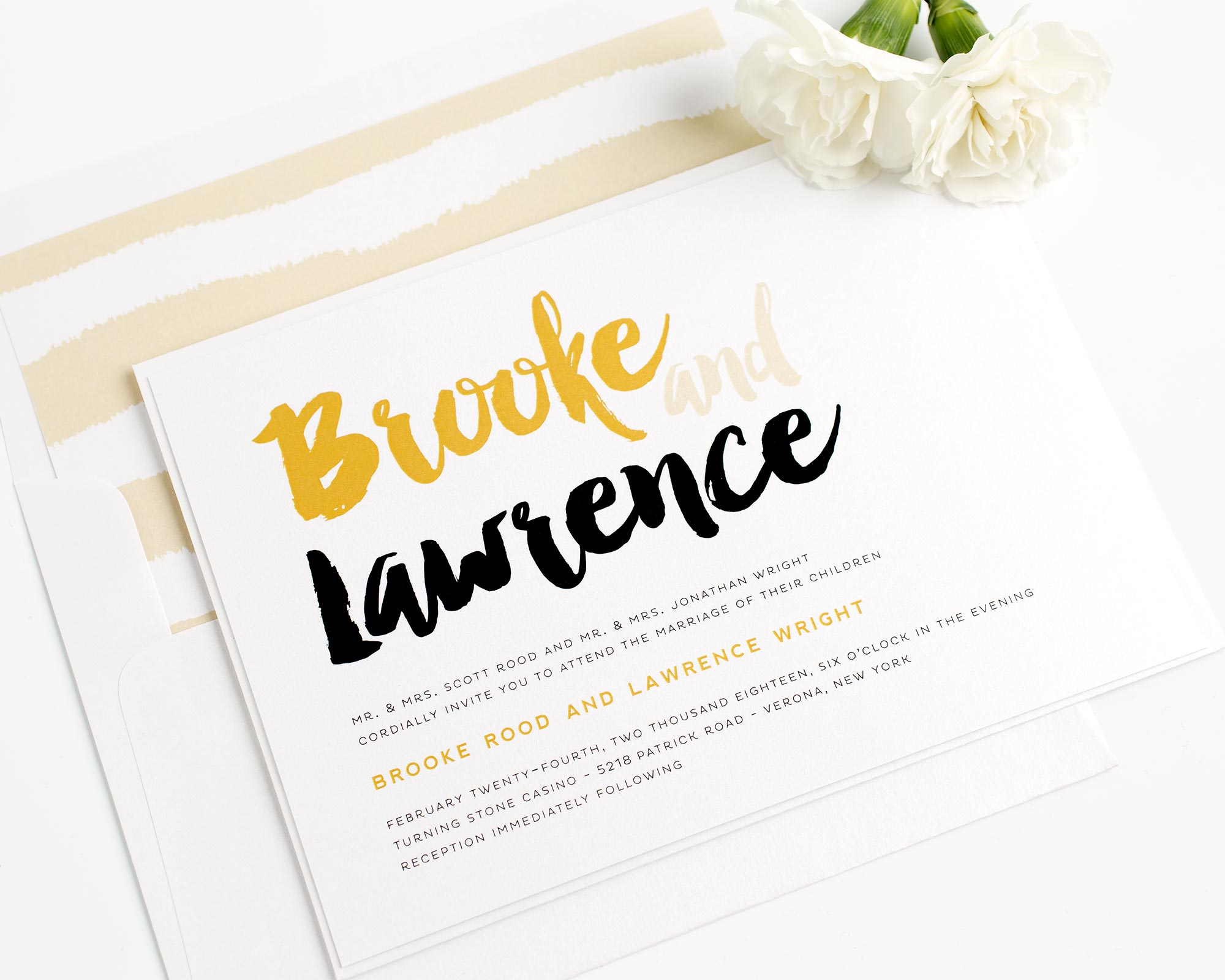 Modern Strokes Wedding Invitations in Gold and Black