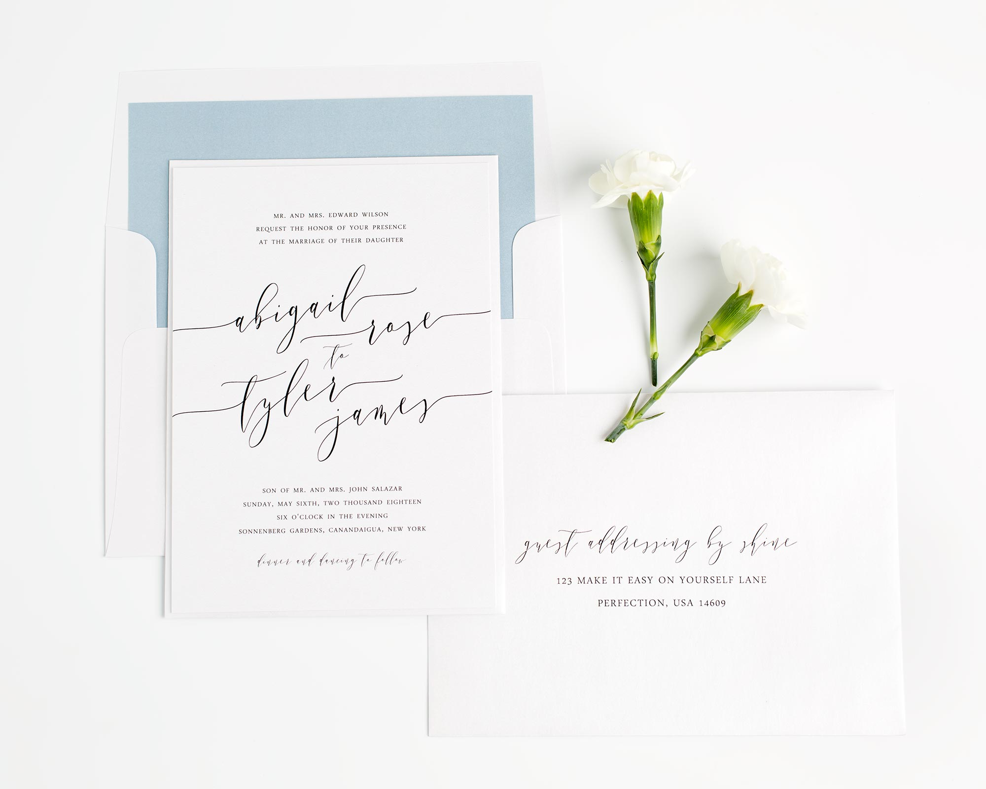 Calligraphy Wedding Invitations in Dusty Blue