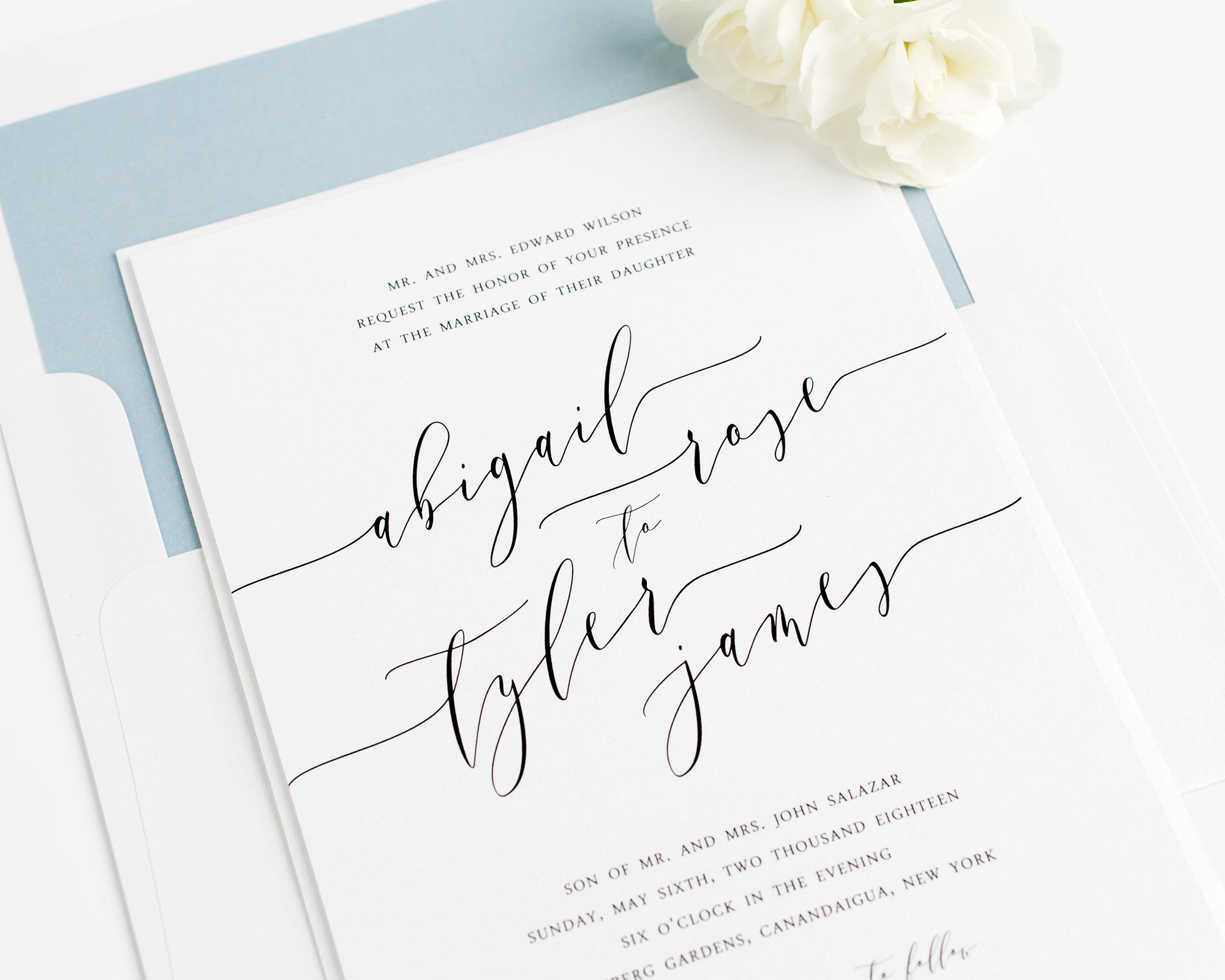 Romantic Calligraphy Wedding Invitations In Dusty Blue Wedding Invitations