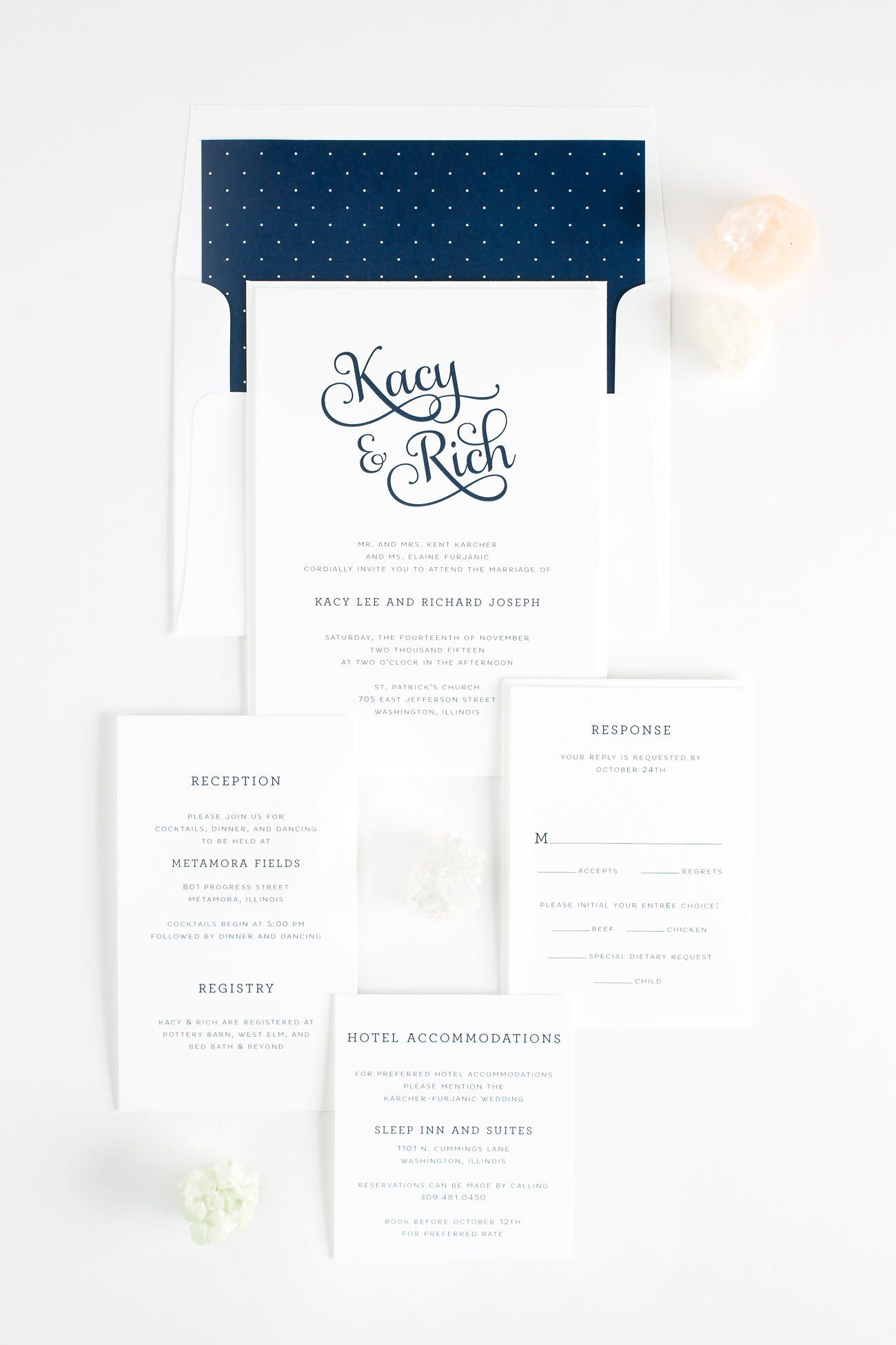 Whimsical Wedding Invitations in Navy with polka dots