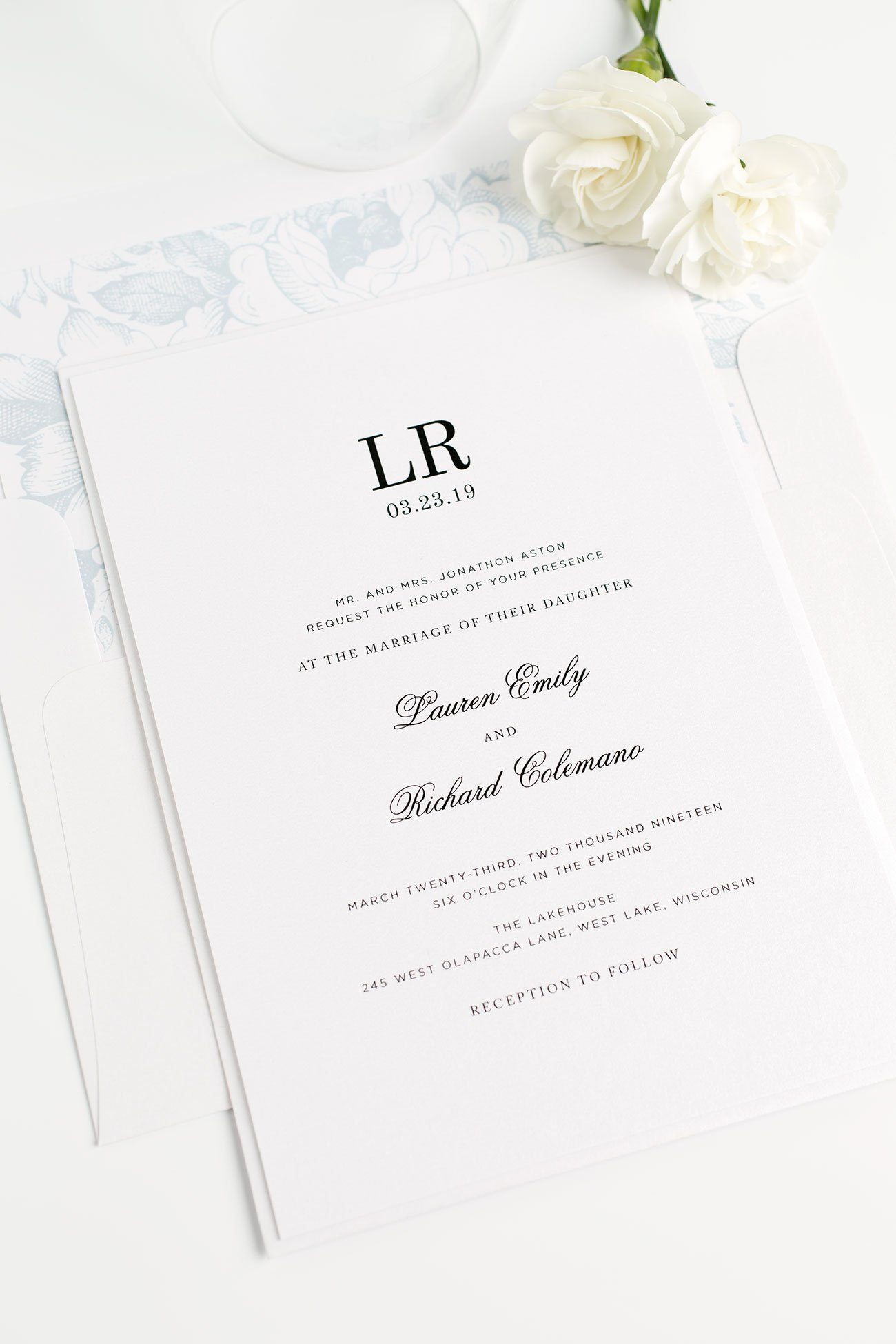 Ice Blue Wedding Invitations with a Monogram