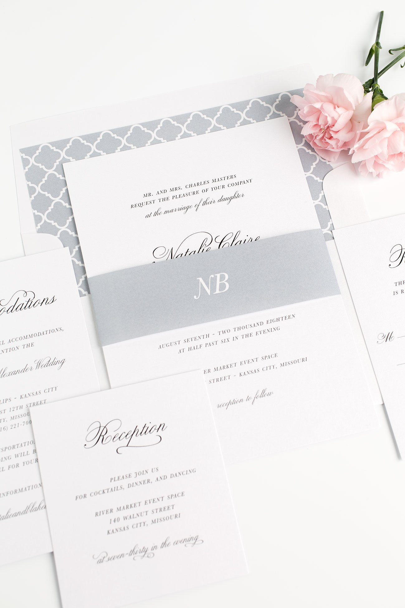 Classic Wedding Invitations in Dove Gray with a Trellis Envelope Liner
