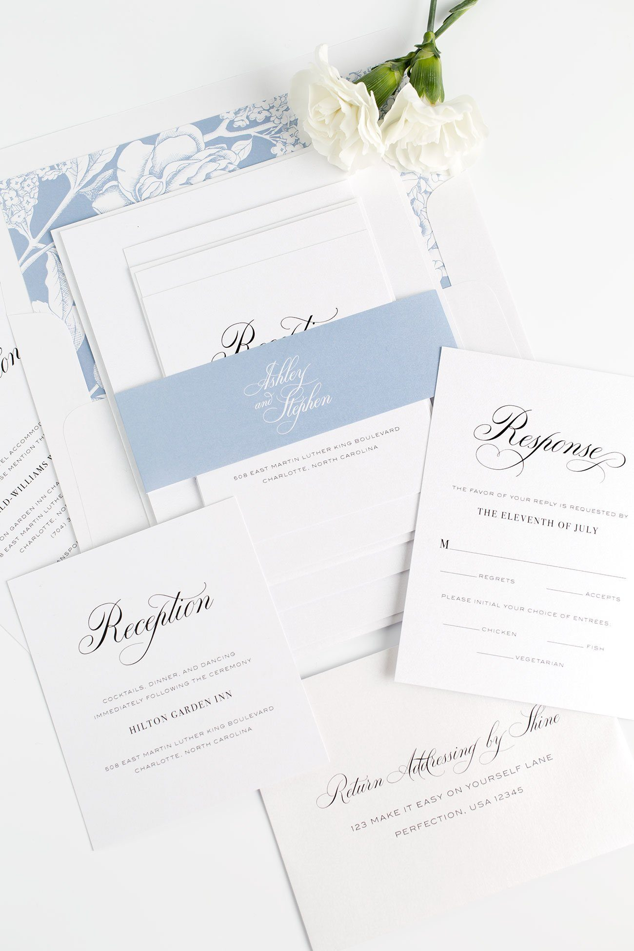 Garden Wedding Invitations in blue