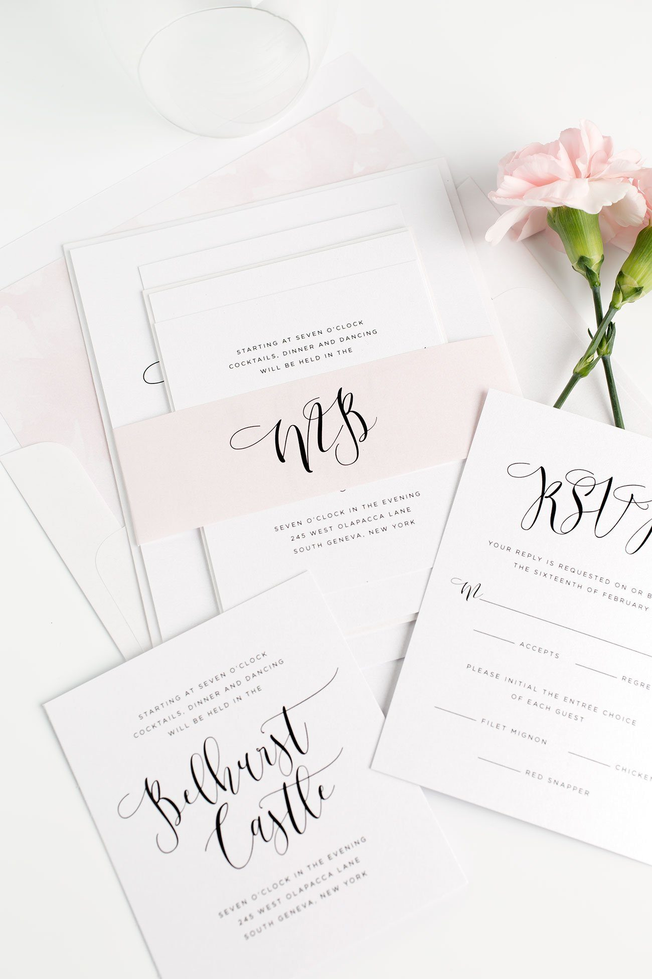 Calligraphy Wedding Invitations with Watercolor Envelope Liners