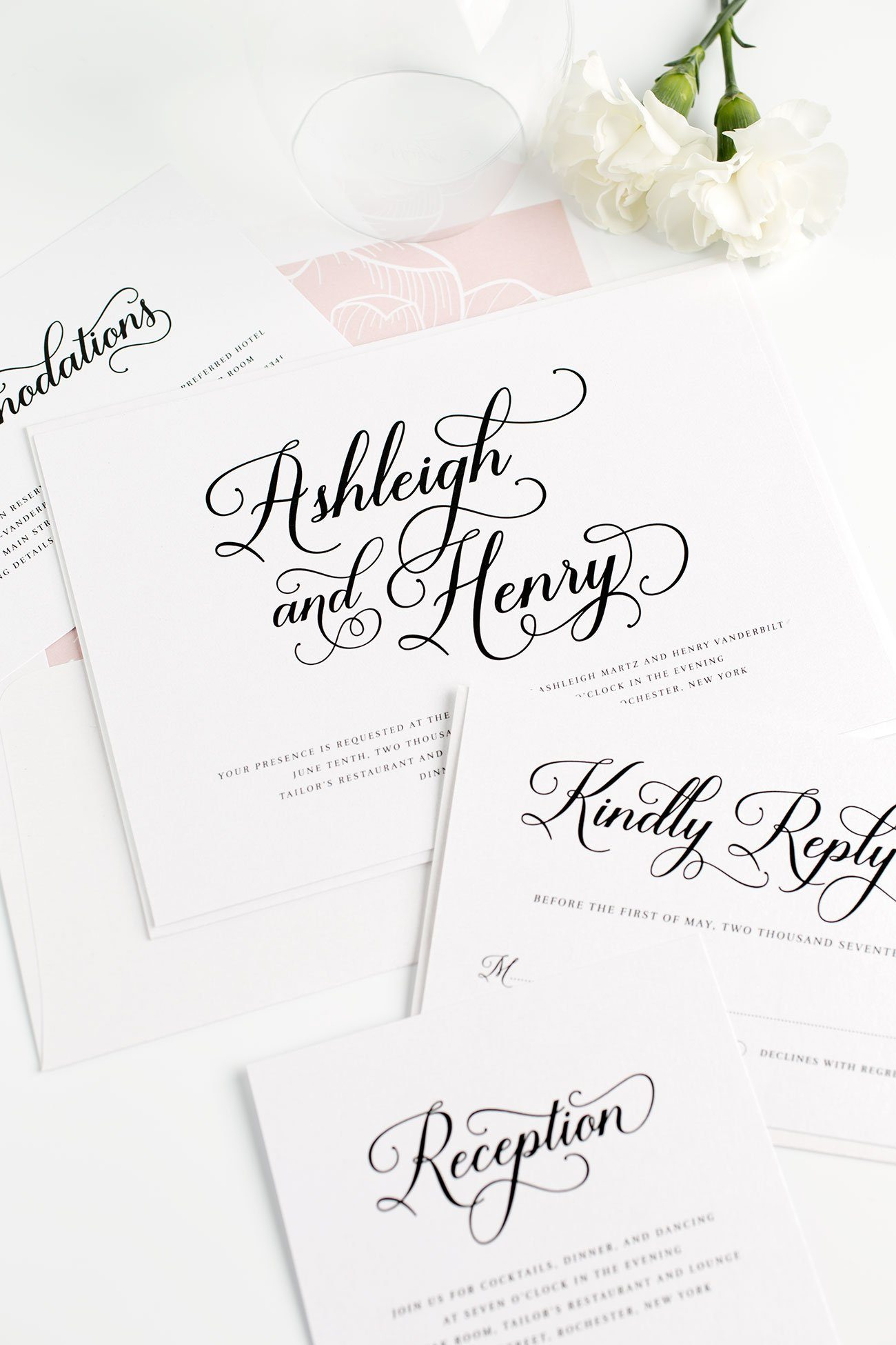 Calligraphy Wedding Invitations in Blush Pink