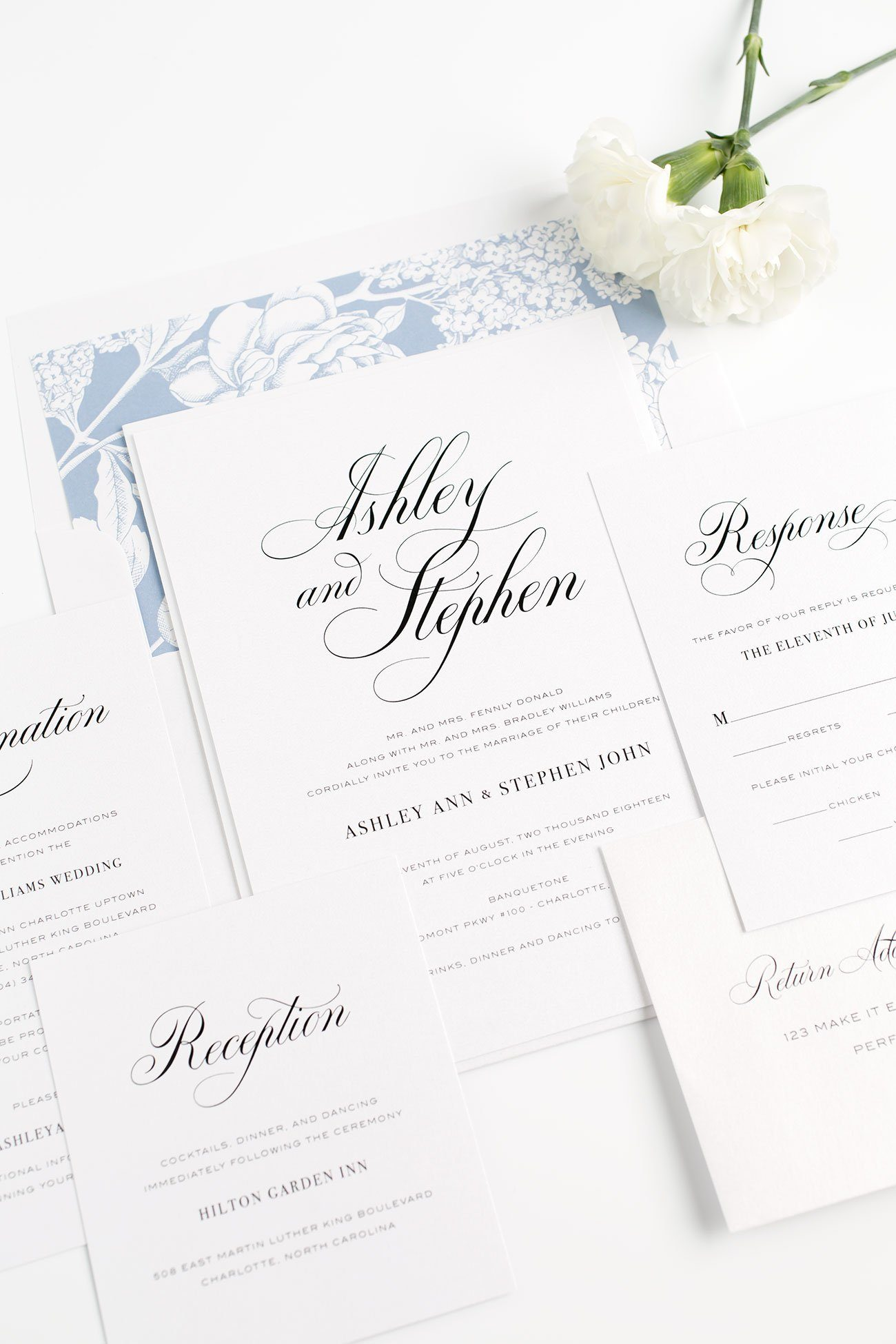 Calligraphy Wedding Invitations in Serenity Blue
