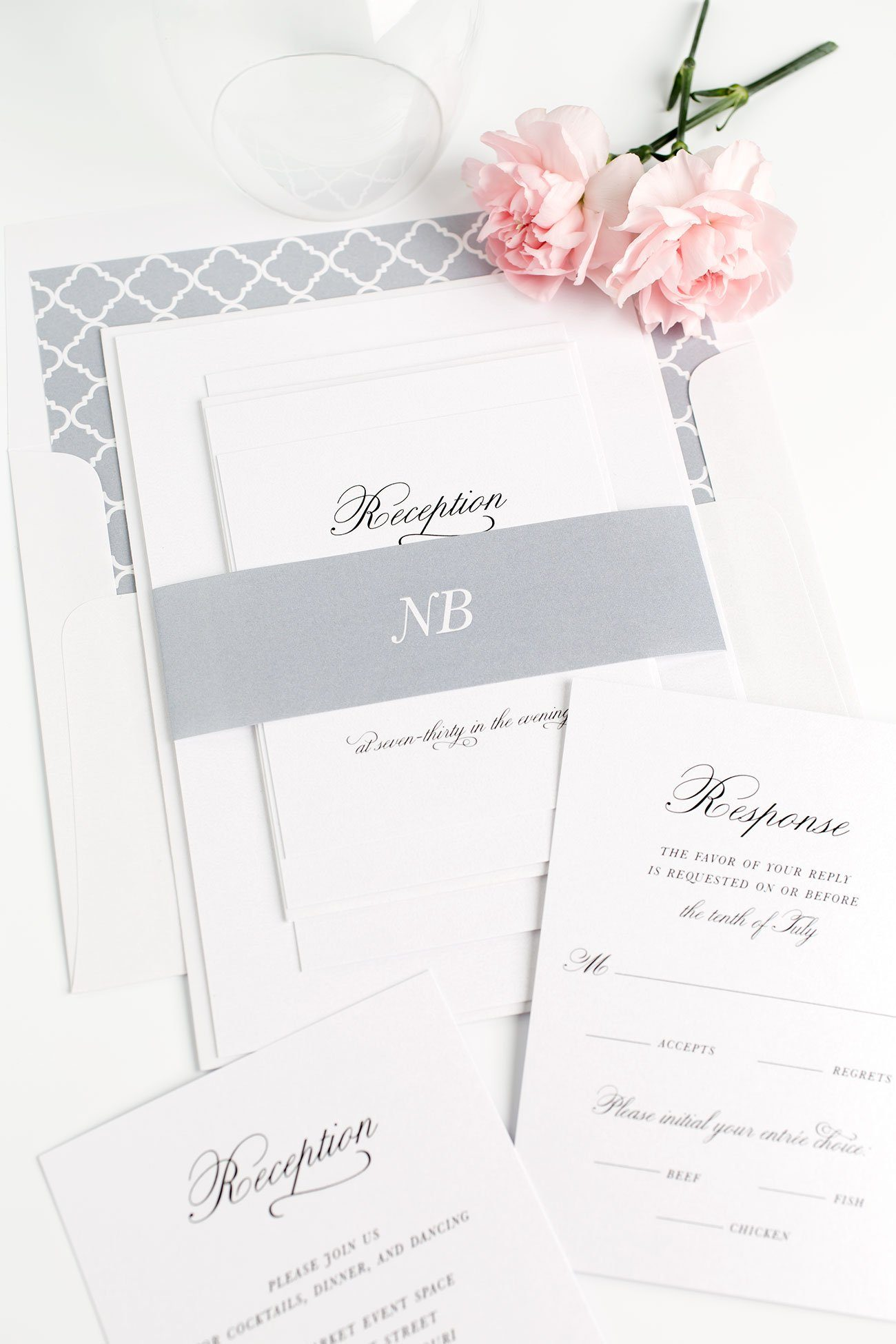 Simple Wedding Invitations in Gray with Trellis accents
