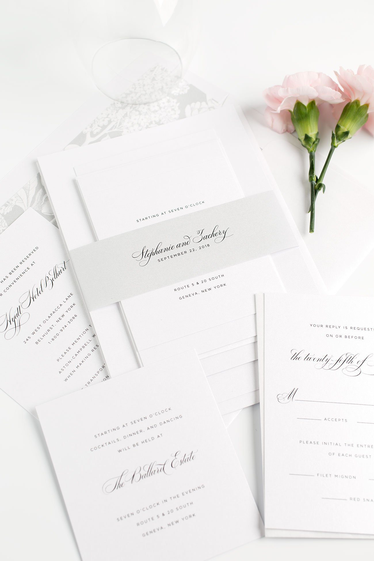 Classic Wedding Invitations with Script in Gray