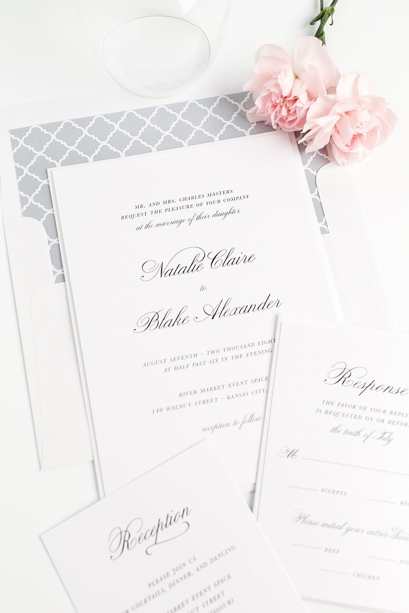 Dove Gray Wedding Invitations