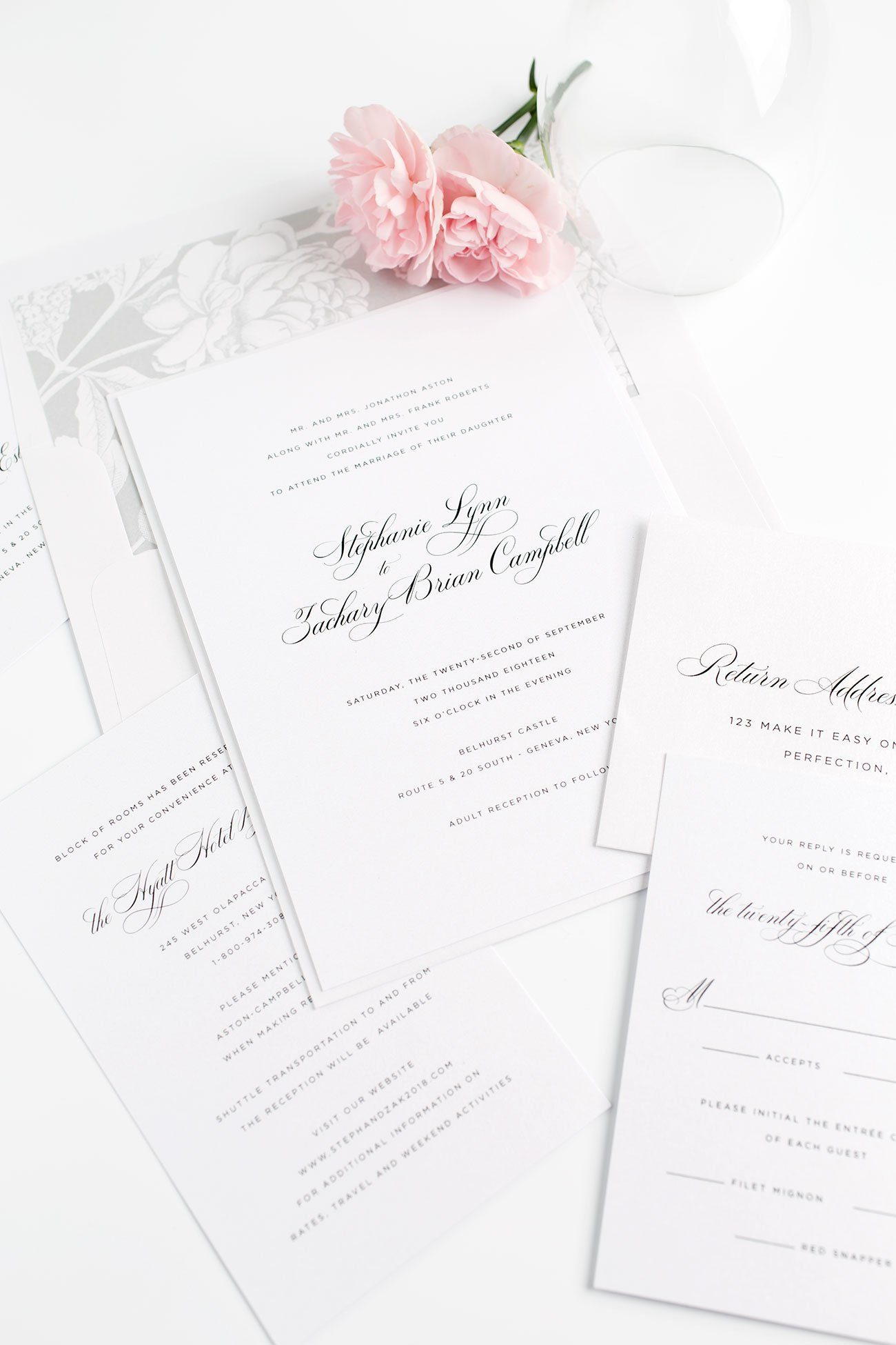 Simple Wedding Invitations in Gray with a Floral Envelope Liner