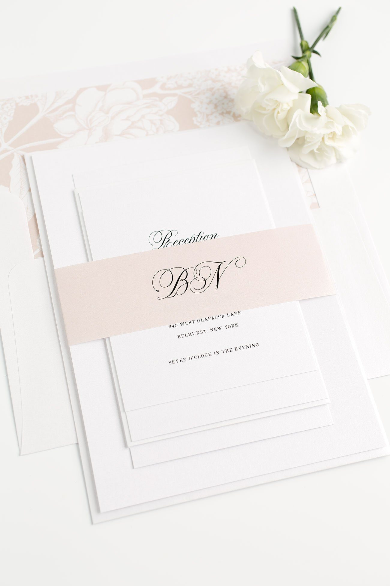 Romantic Wedding Invitations in Rose Gold with Floral Accents