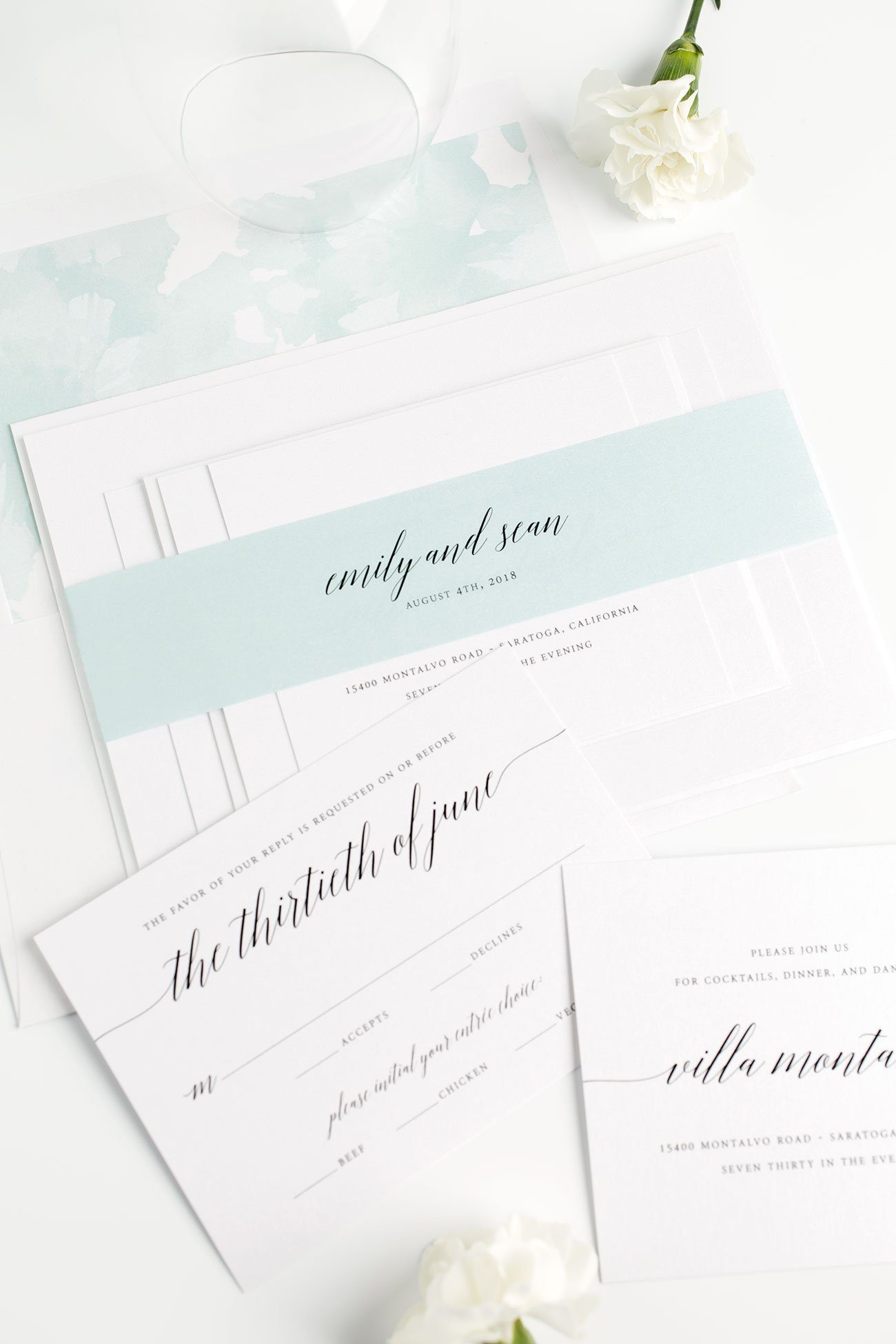 Romantic Mint Wedding Invitations