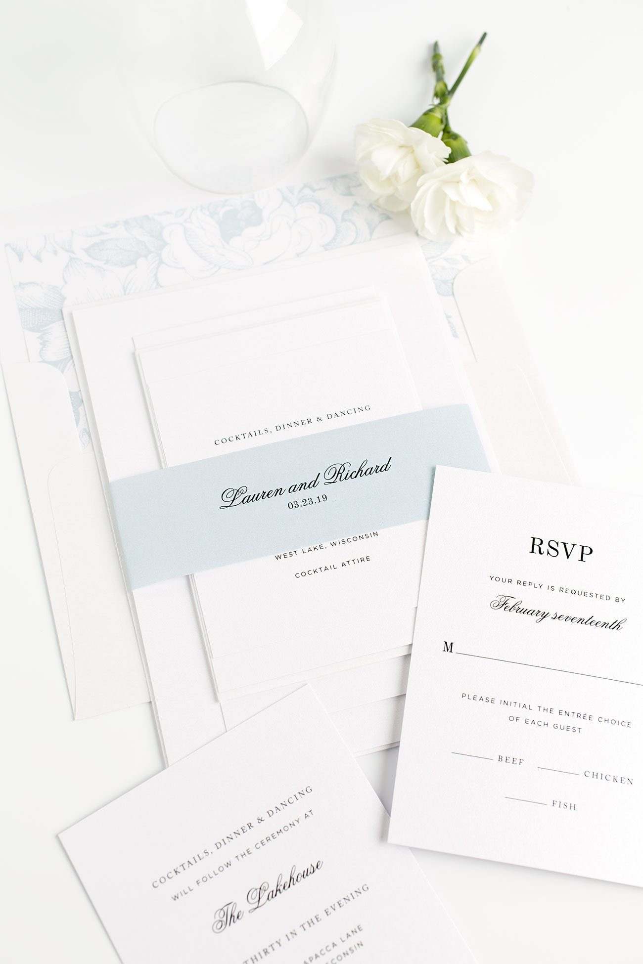 Classic Monogram Wedding Invitations in Ice Blue with a Floral Envelope Liner