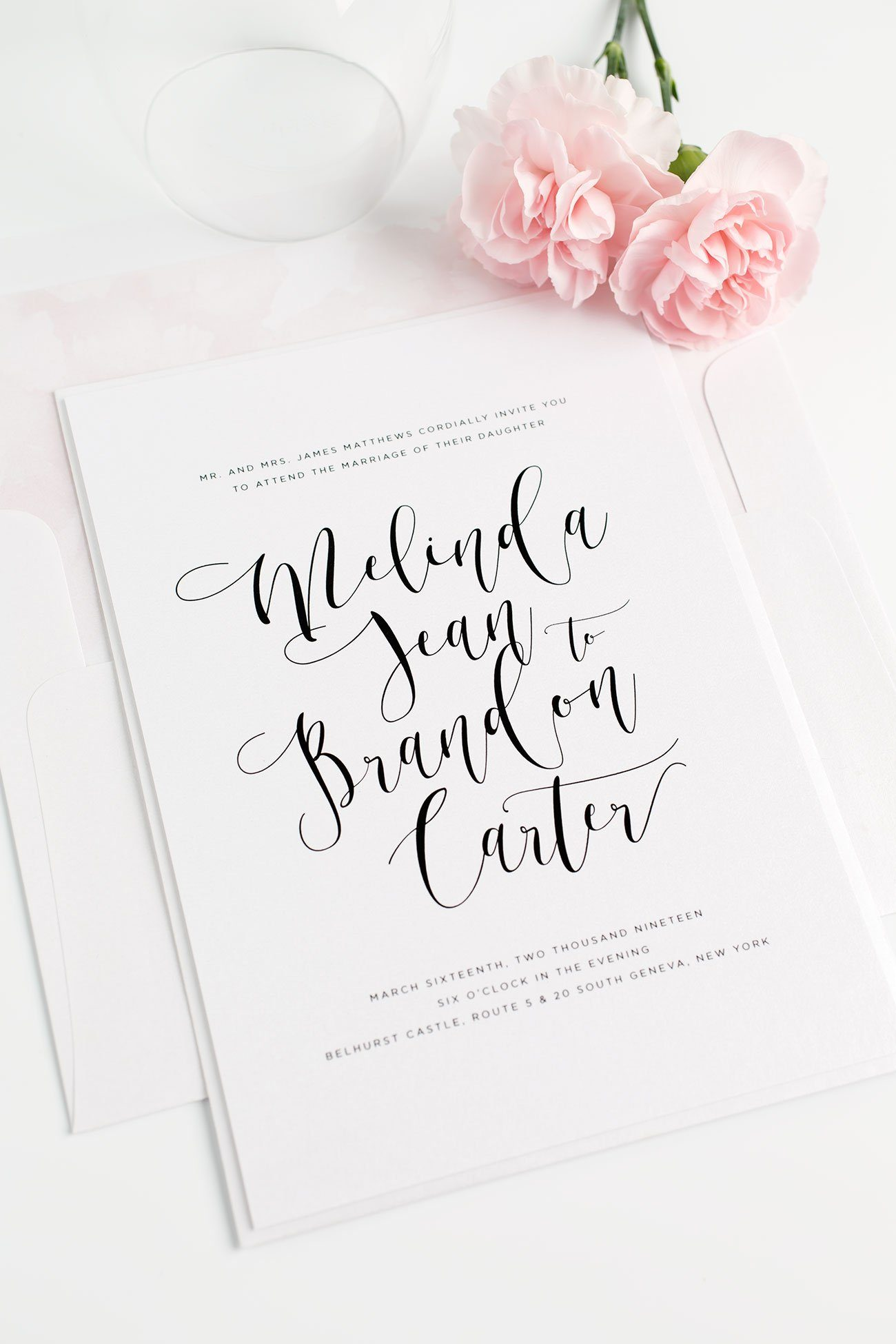 Calligraphy Wedding Invitations in Light Pink