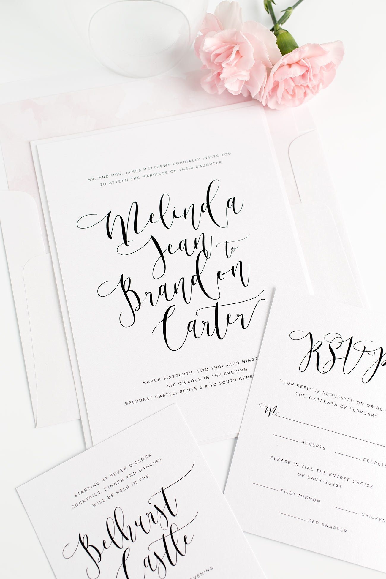 Light and Airy Calligraphy Wedding Invitations