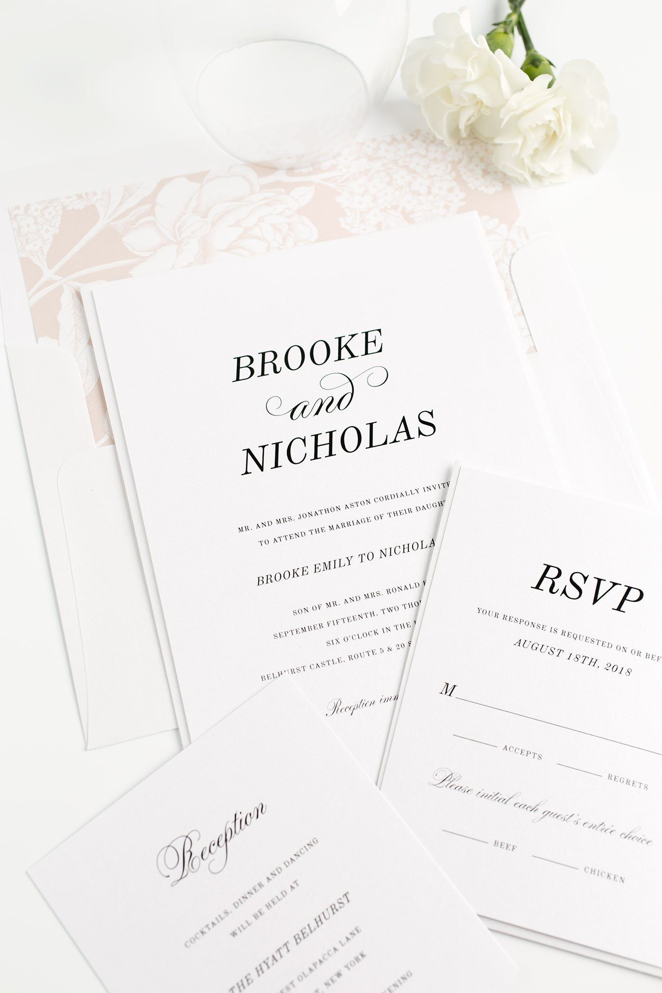 Rose Gold Wedding Invitations with a Floral Envelope Liner