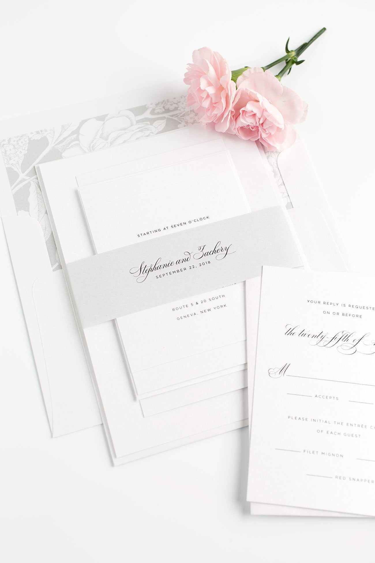 Silver Wedding Invitations with Floral Accents