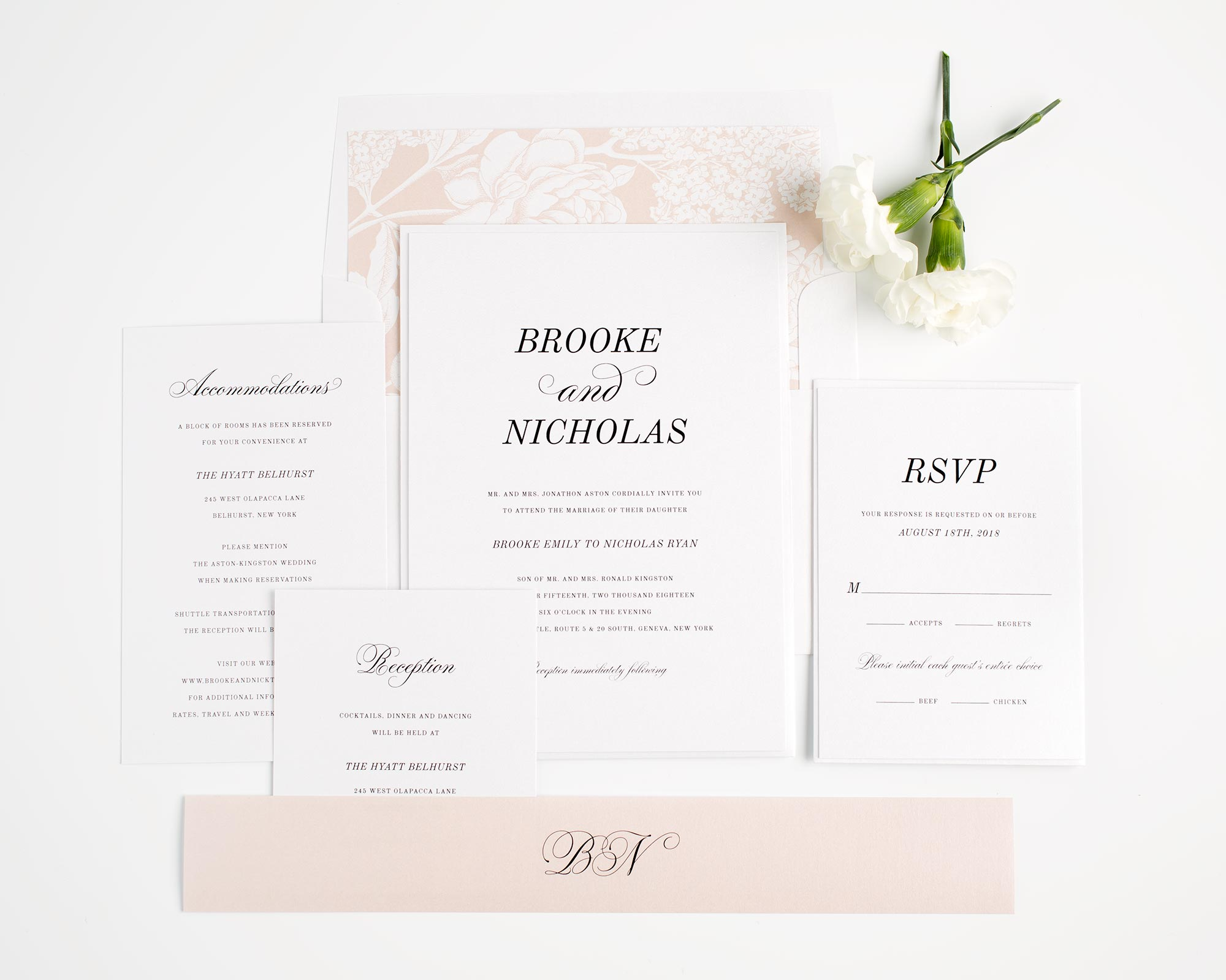 Classic Wedding Invitations in Rose Gold