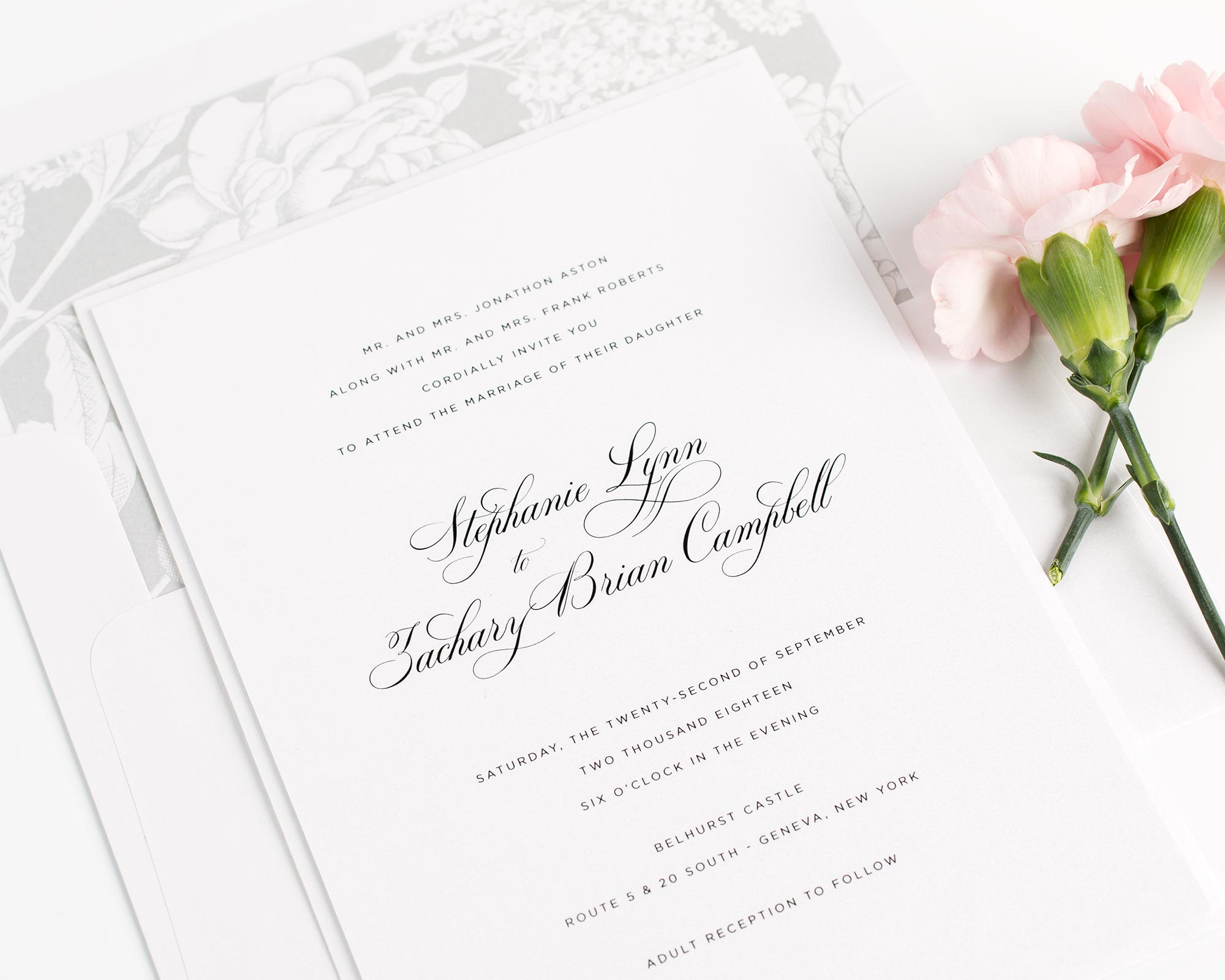 Elegant Wedding Invitations in Silver