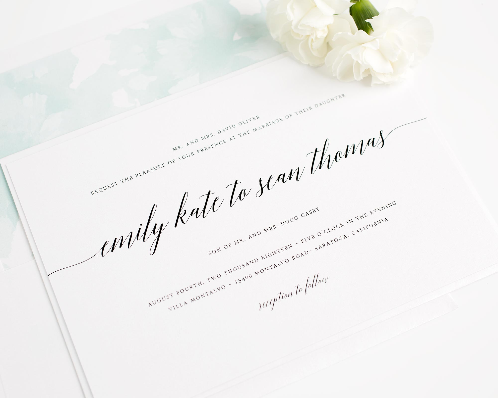 Romantic Wedding Invitations in Mint