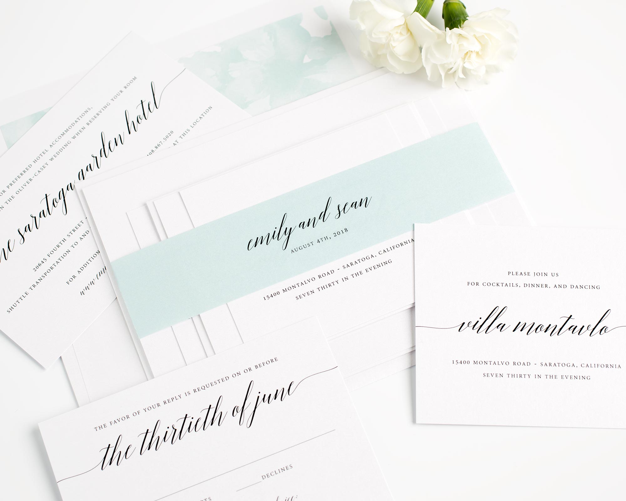 Mint Floral Wedding Invitations with Calligraphy