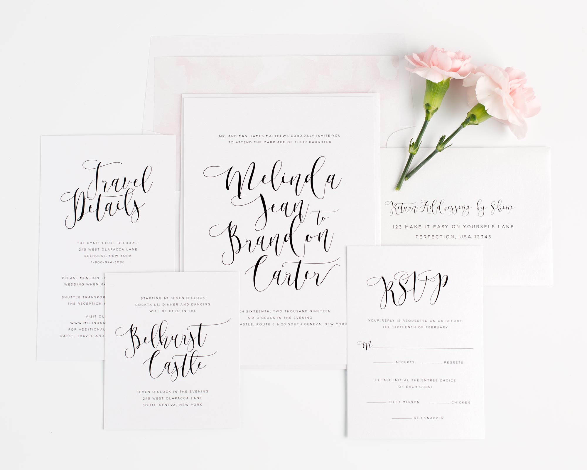 Light and airy wedding invitations in pink