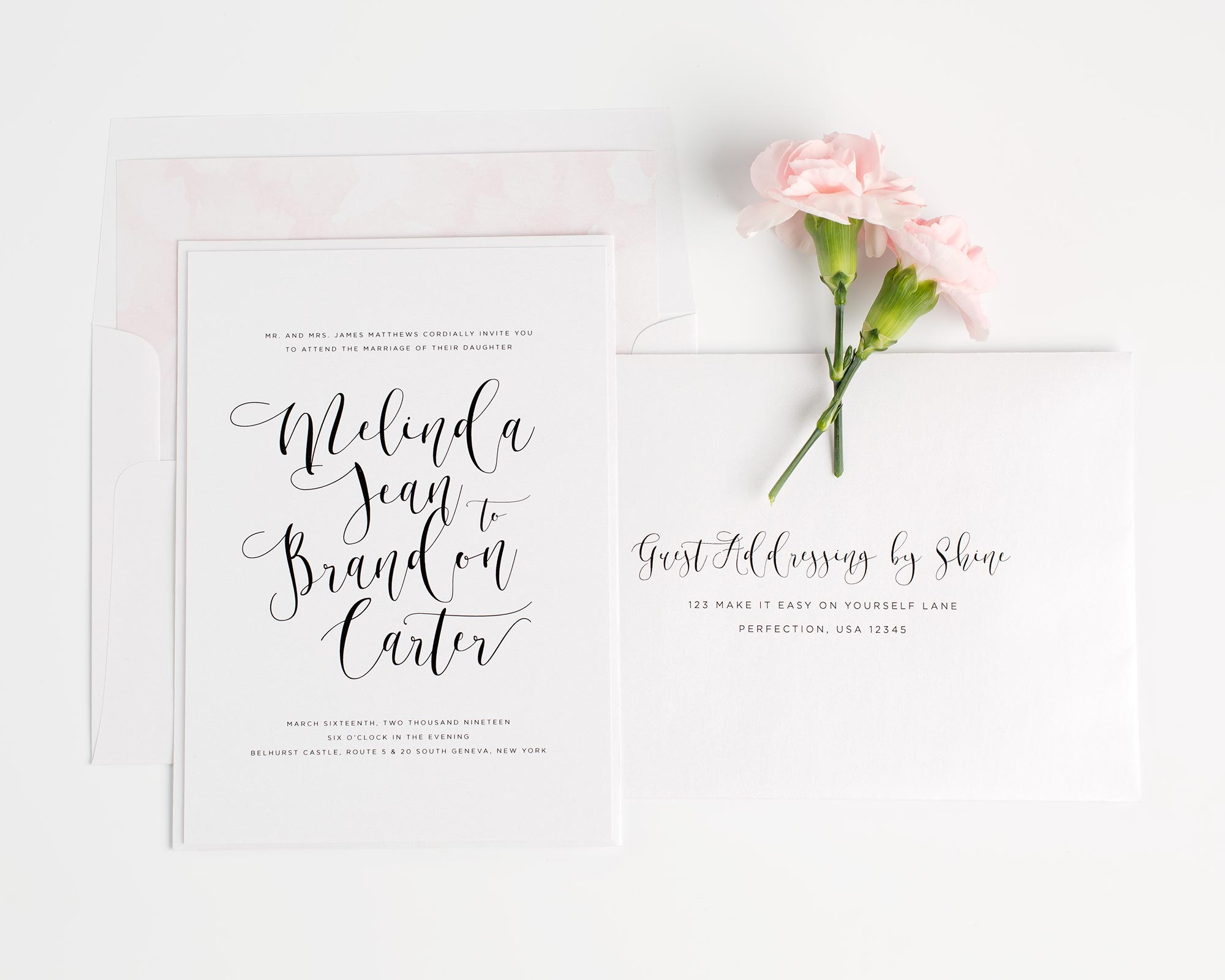 Light Pink Watercolor Wedding Invitations