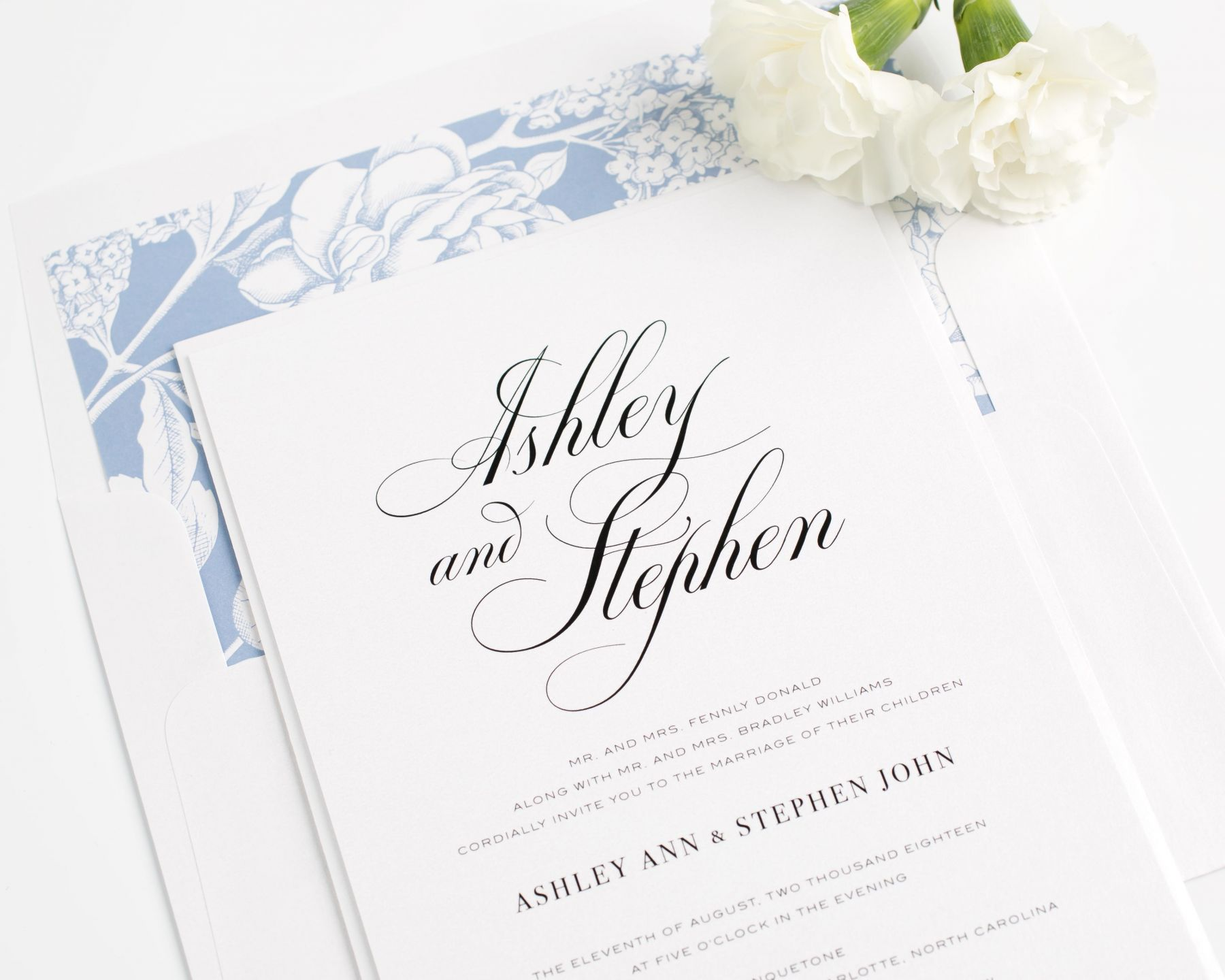 Calligraphy wedding invitations in serenity blue u wedding invitations